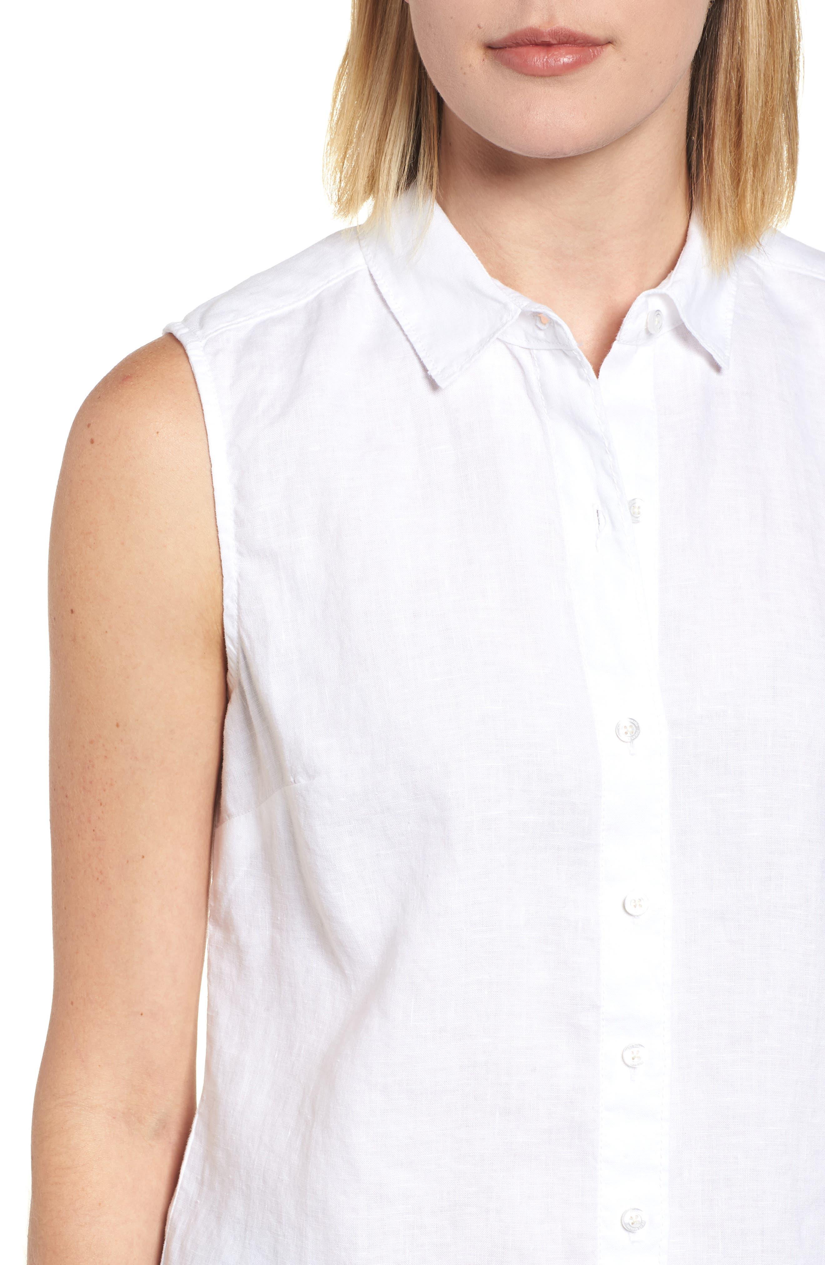 Sea Glass Breezer Linen Shirt,                             Alternate thumbnail 4, color,                             WHITE