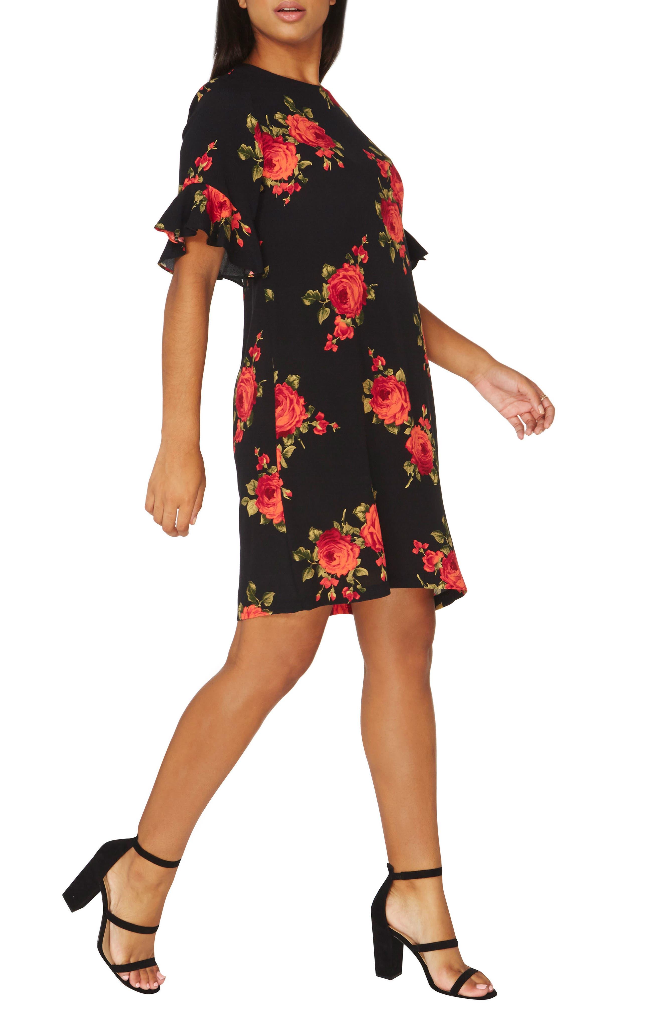 Rose Shift Dress,                             Alternate thumbnail 3, color,                             651