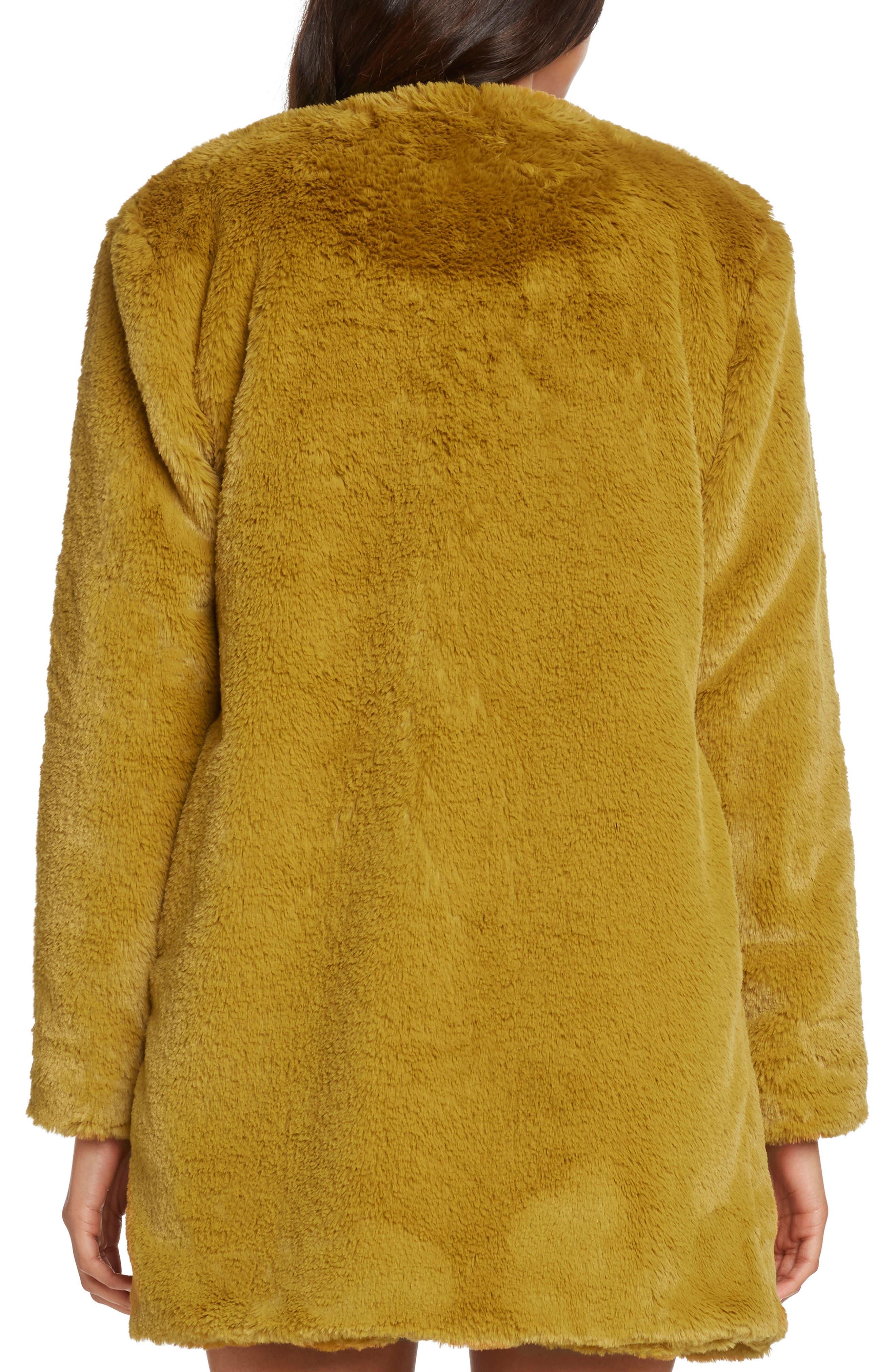 Faux Fur Jacket,                             Alternate thumbnail 2, color,                             SAFFRON