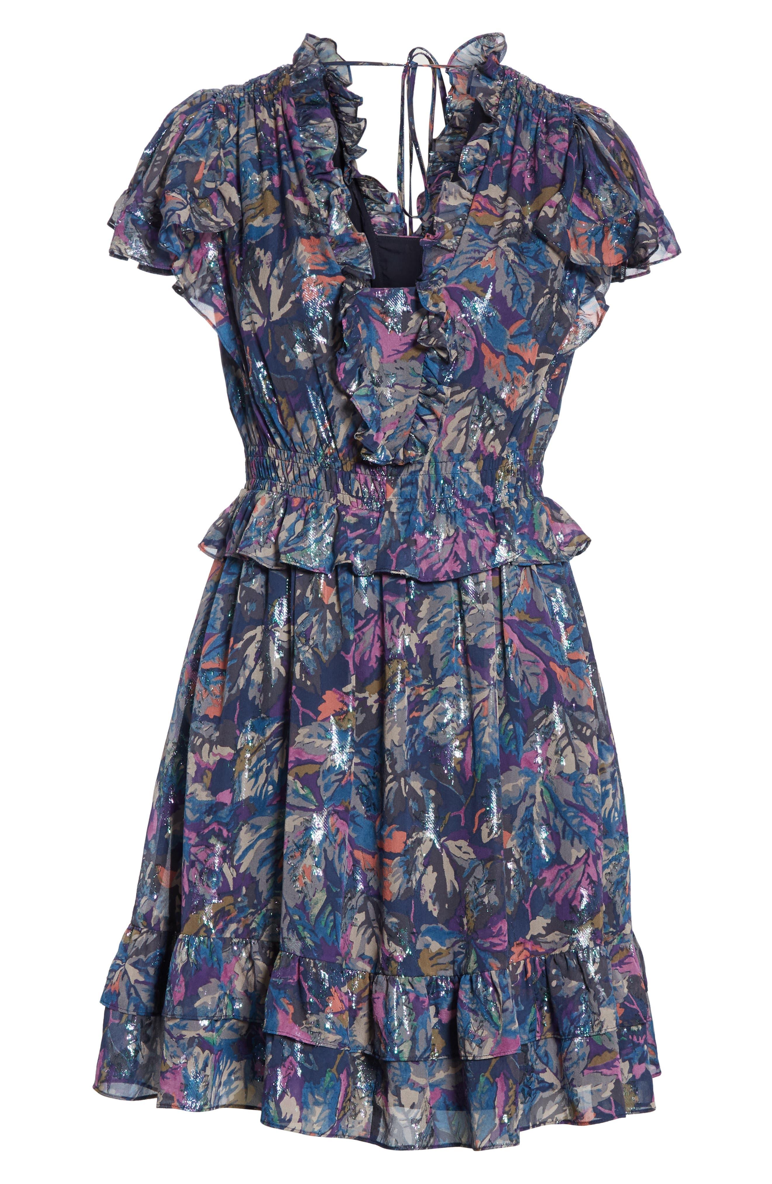 Giverney Fleur Dress,                             Alternate thumbnail 7, color,                             AMETHYST COMBO