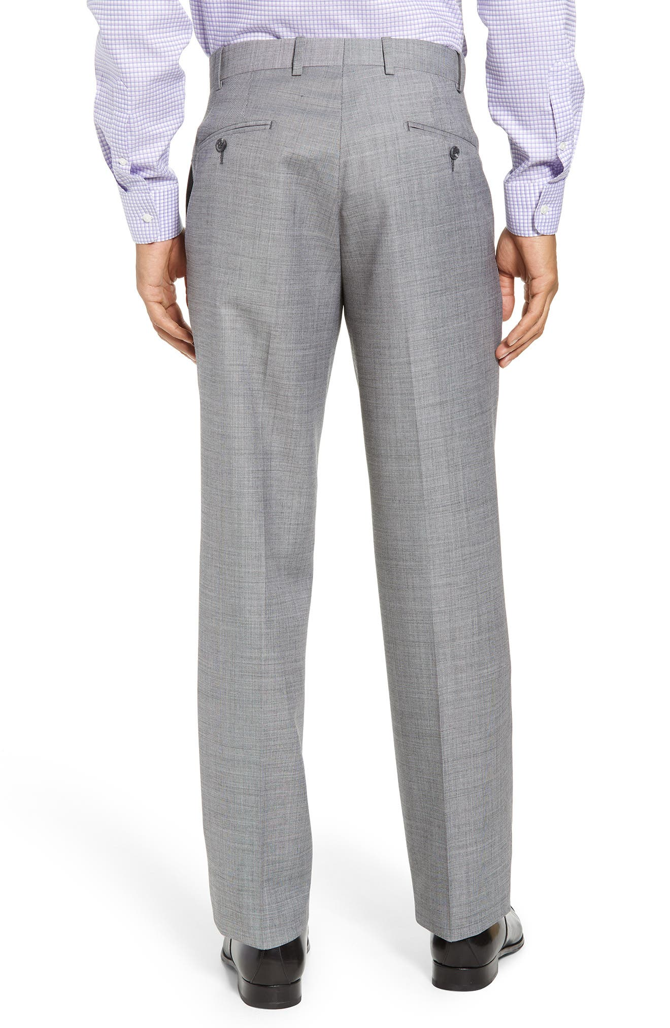 Torino Flat Front Solid Wool Trousers,                             Alternate thumbnail 5, color,