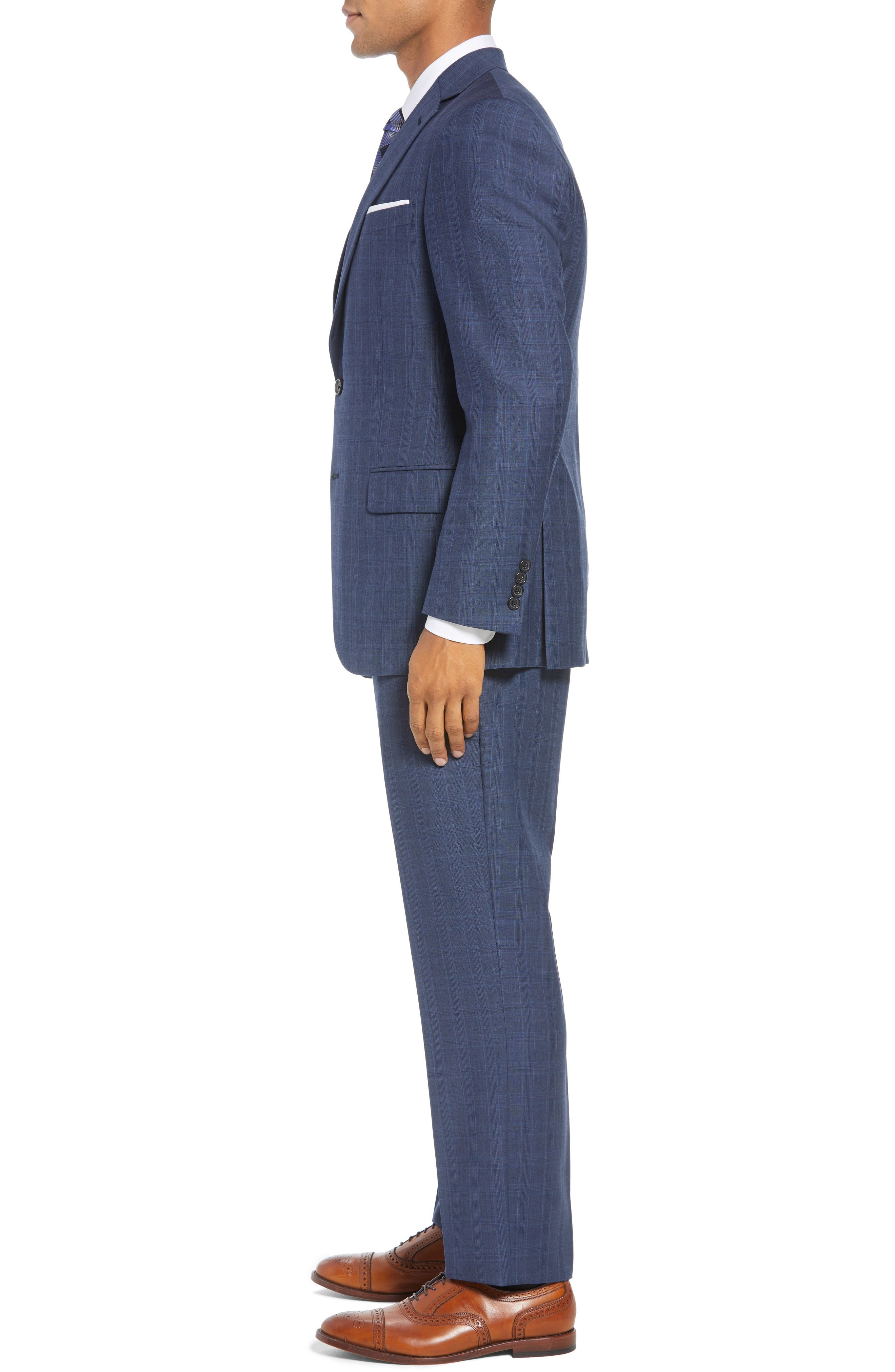 New York Classic Fit Plaid Wool Suit,                             Alternate thumbnail 3, color,                             MED BLUE