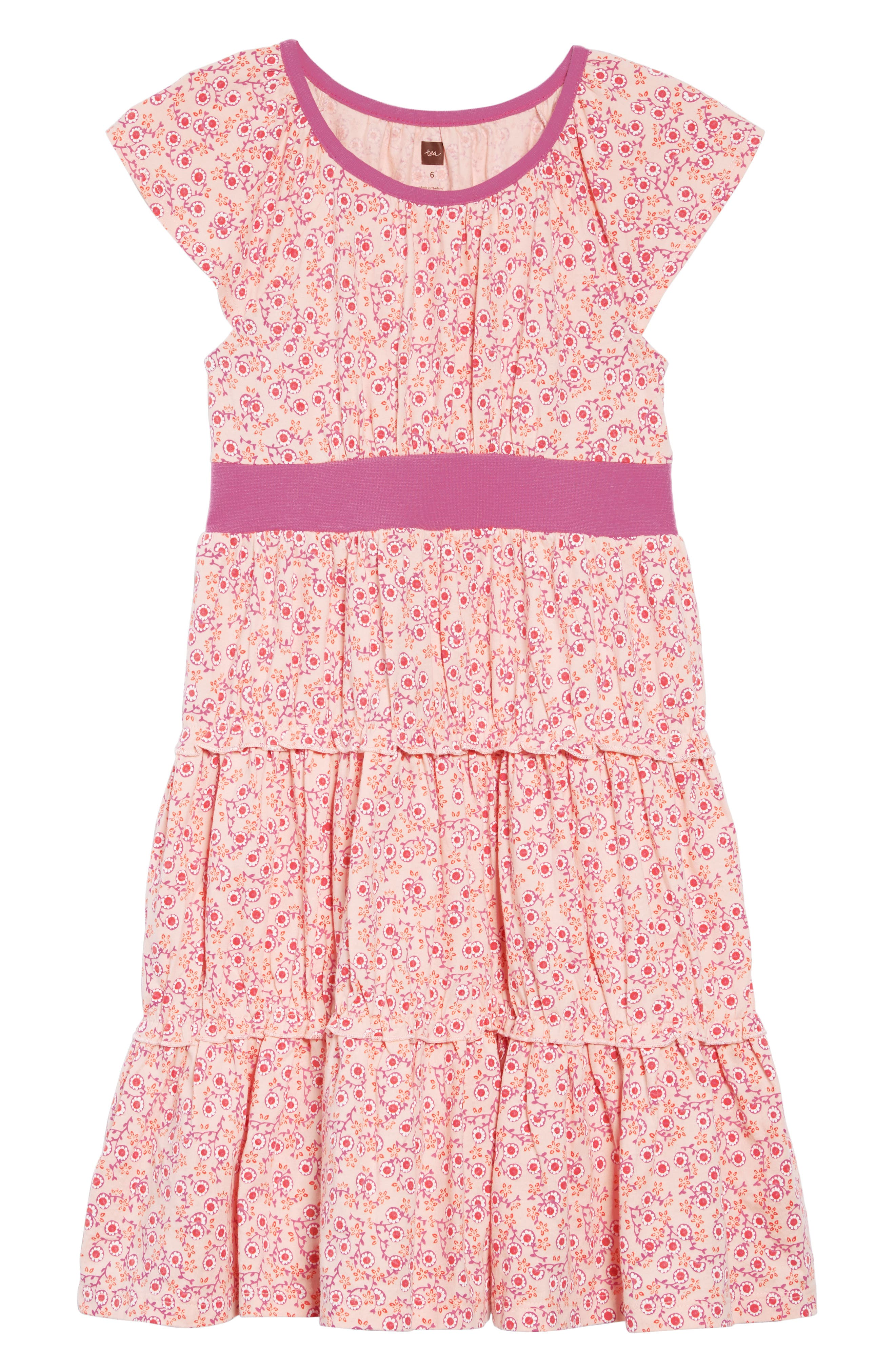 TEA COLLECTION Print Tiered Twirl Dress, Main, color, MEI MEI FLORAL
