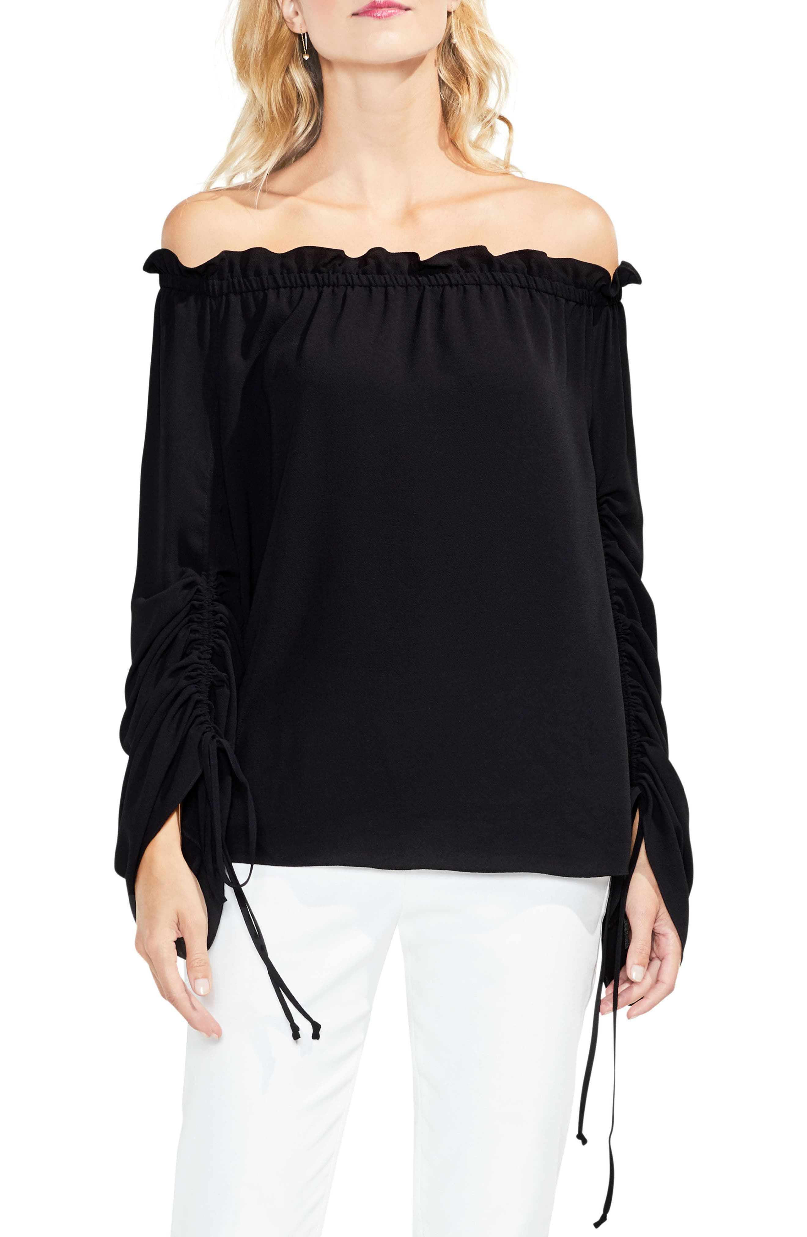 Off the Shoulder Ruched Sleeve Blouse,                             Main thumbnail 1, color,                             006