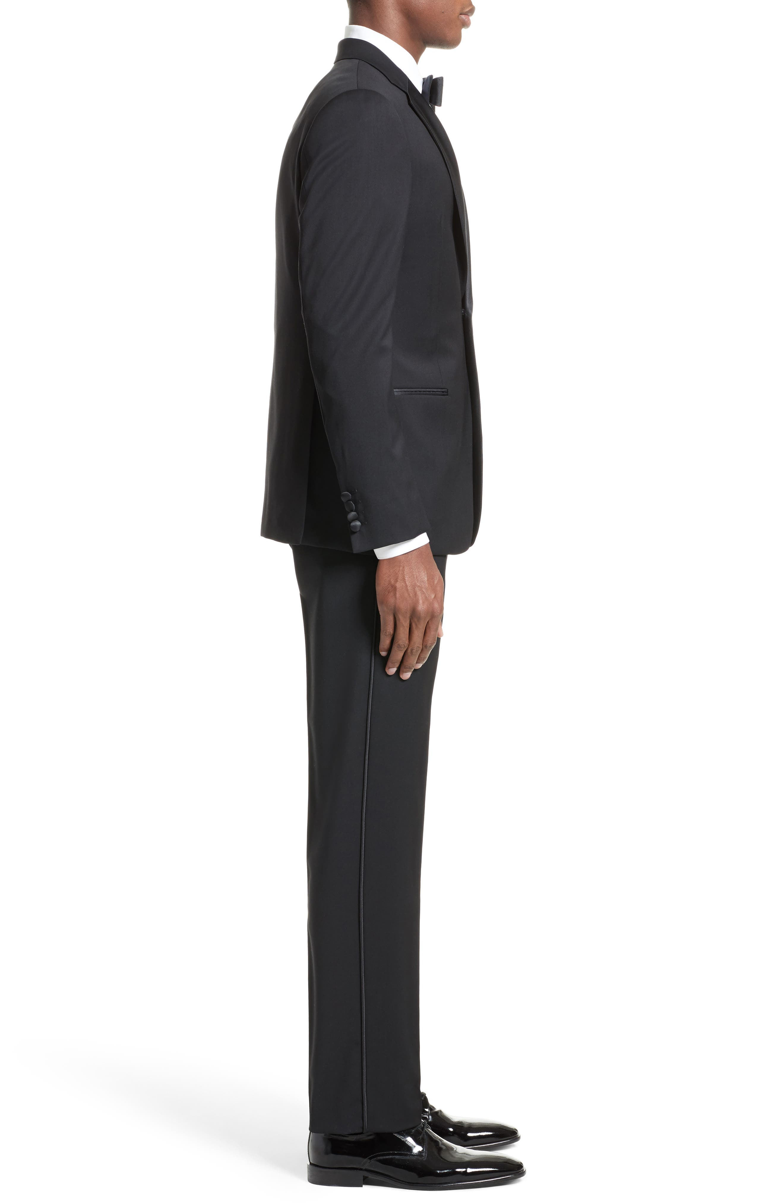 Trim Fit Wool Tuxedo,                             Alternate thumbnail 4, color,                             001