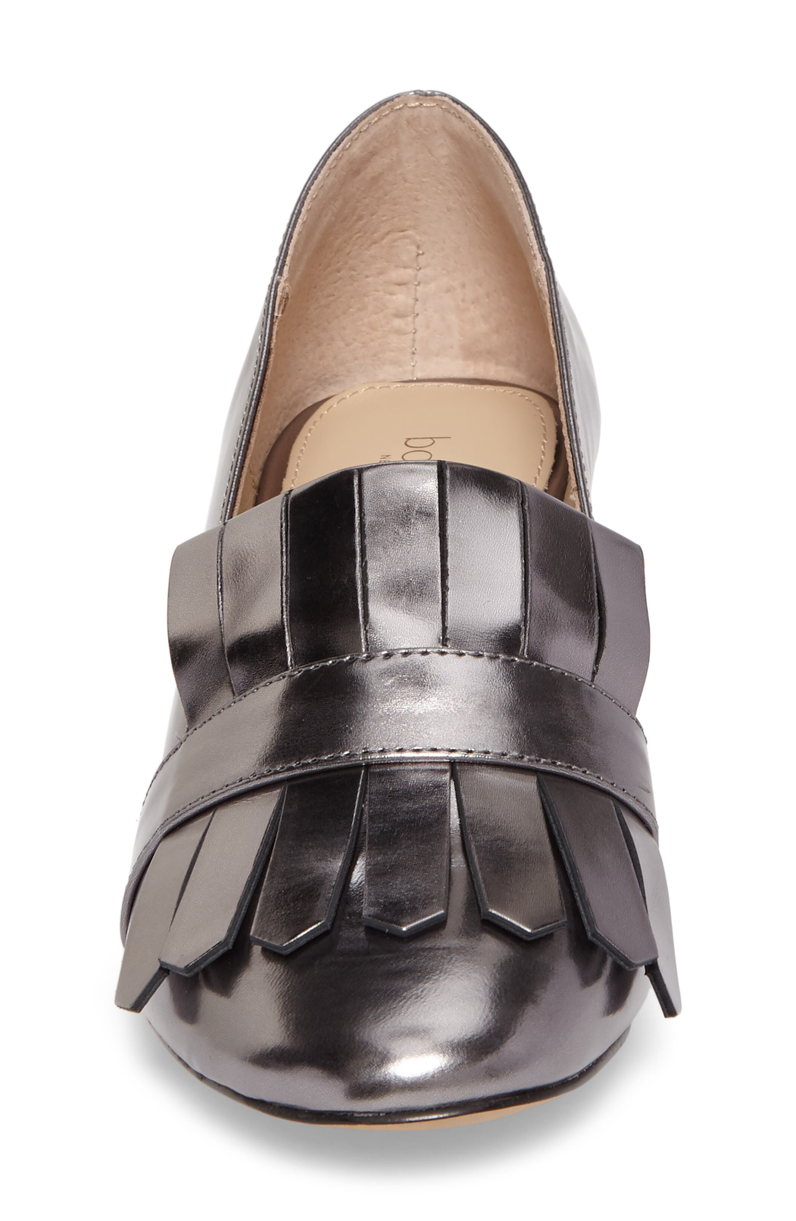Olive Loafer Pump,                             Alternate thumbnail 4, color,                             PEWTER LEATHER