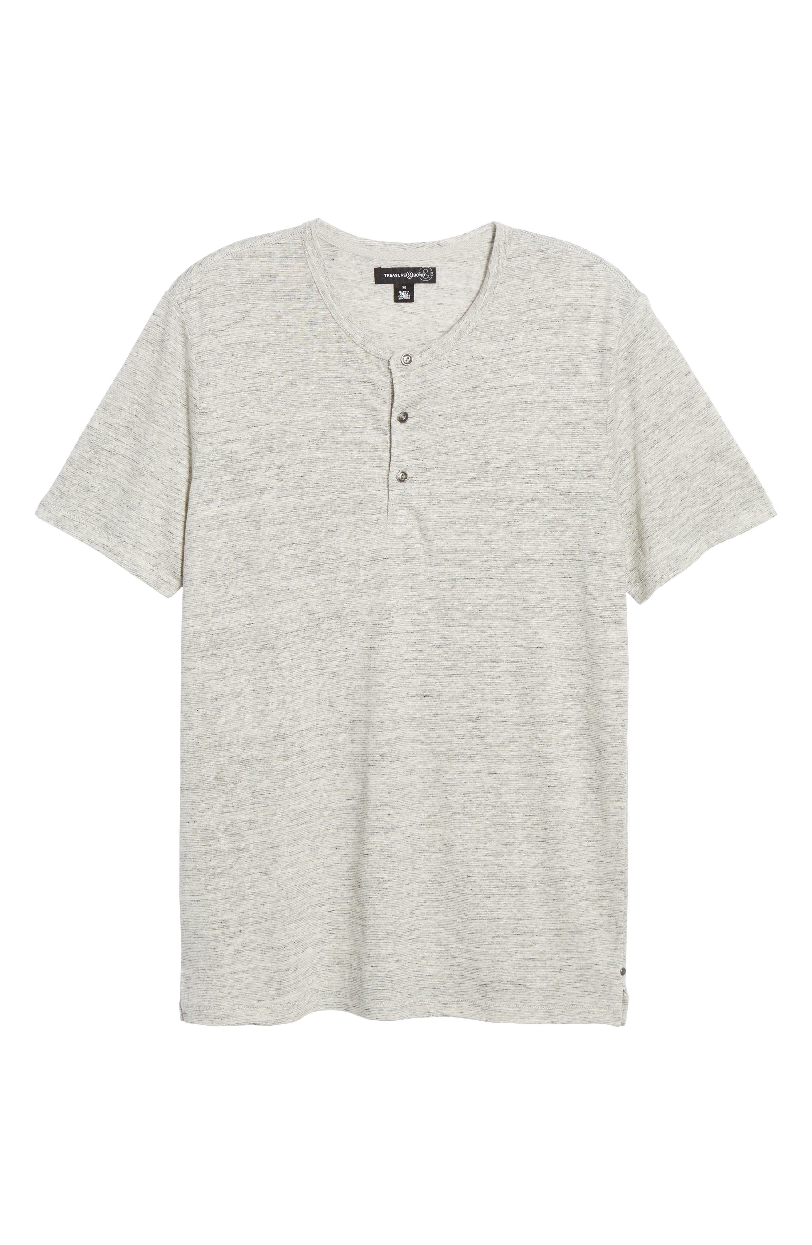 Short Sleeve Linen Henley,                             Alternate thumbnail 6, color,                             050