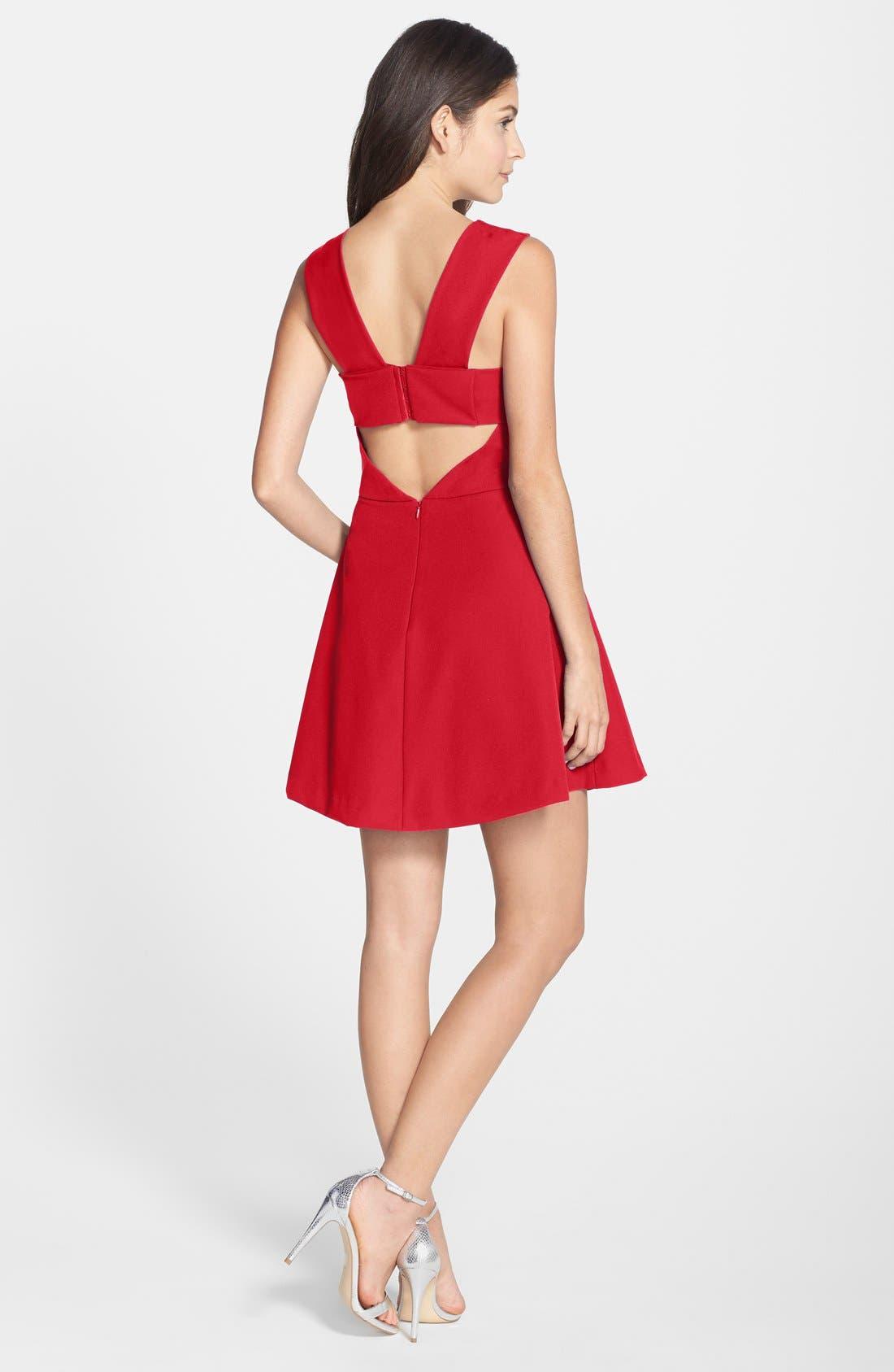 Bianca Back Cutout Fit & Flare Dress,                             Alternate thumbnail 25, color,