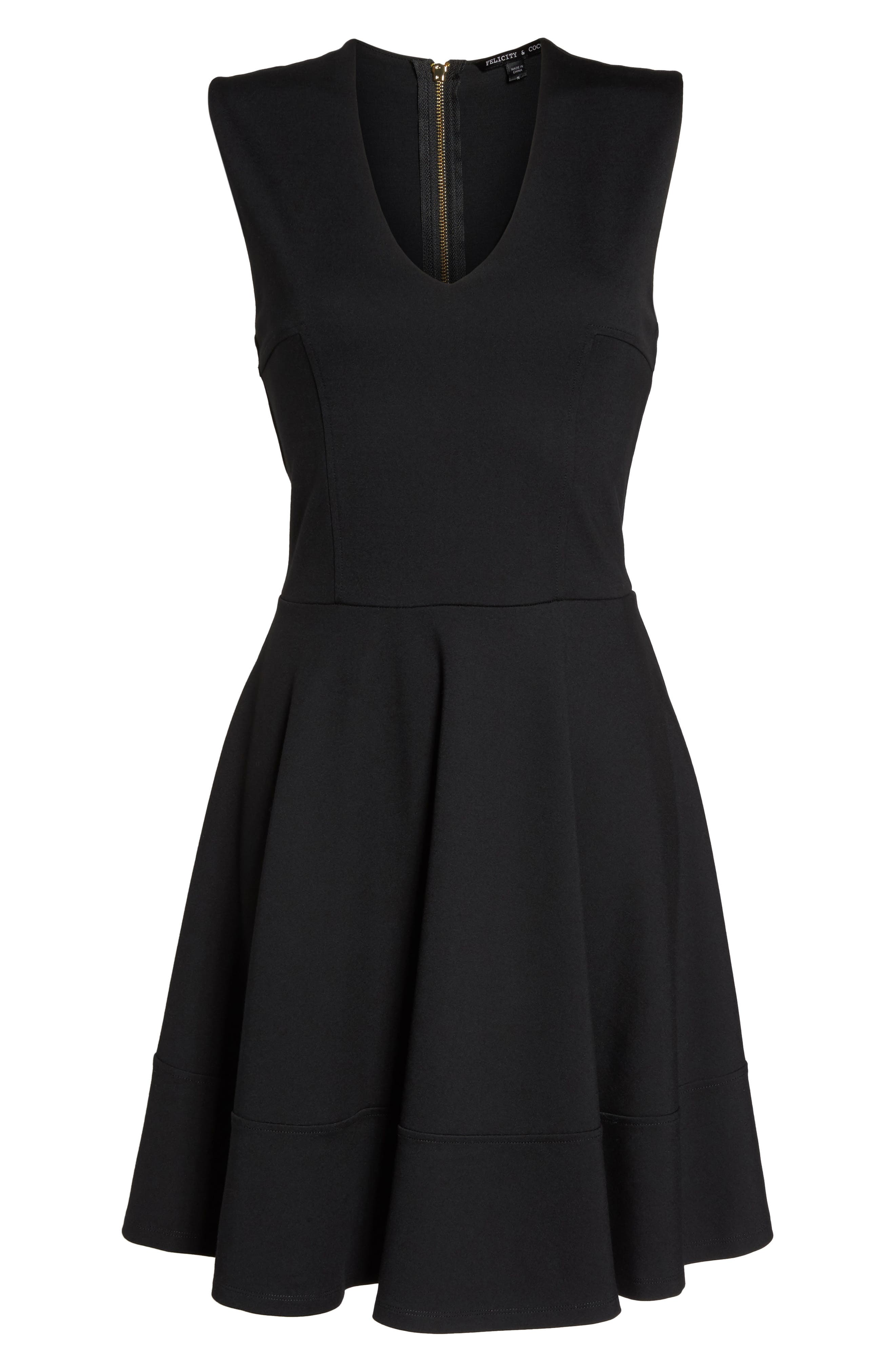 Lyla Fit & Flare Dress,                             Alternate thumbnail 6, color,                             001