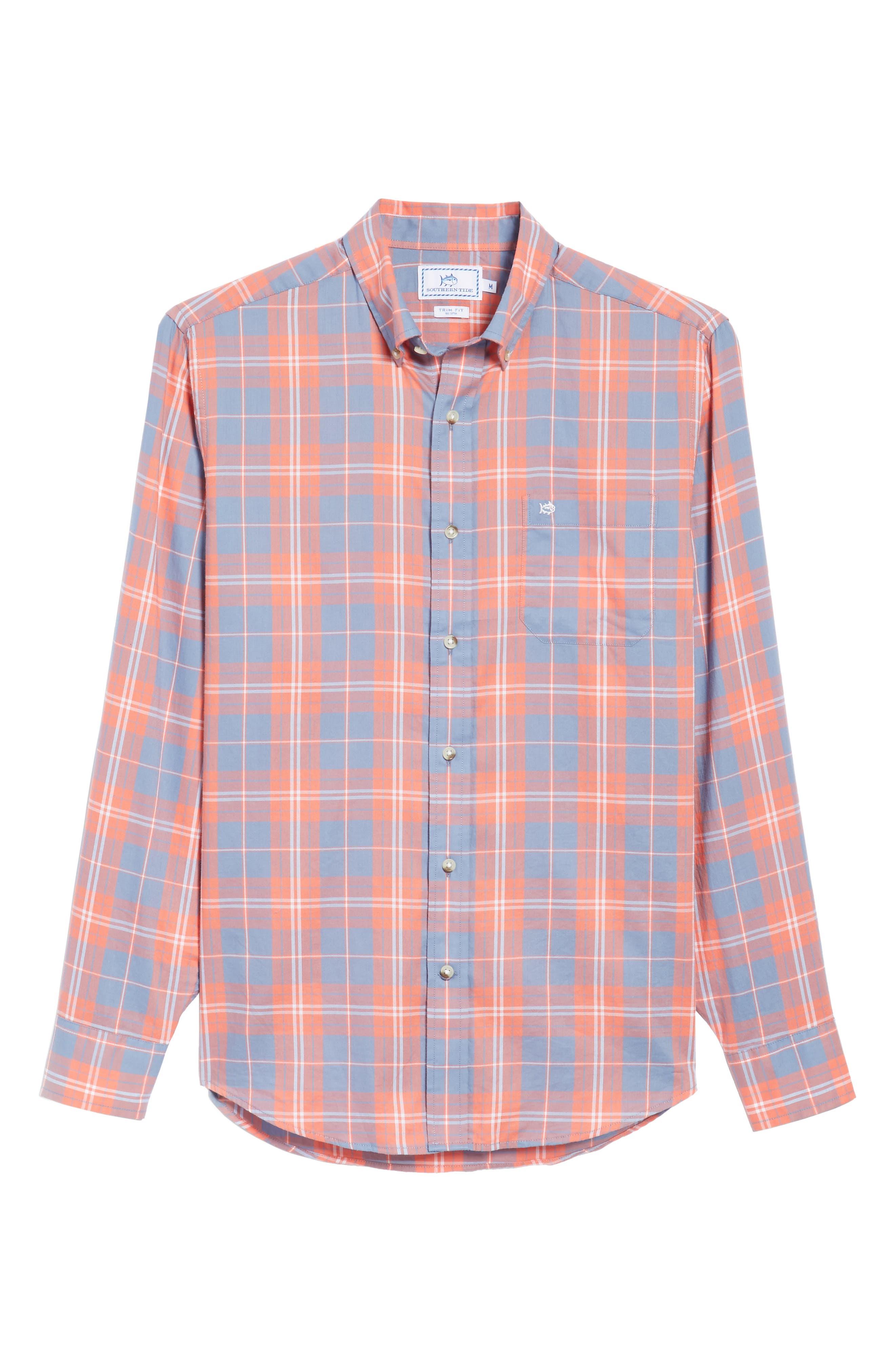 Charleston Station Slim Fit Plaid Sport Shirt,                             Alternate thumbnail 6, color,