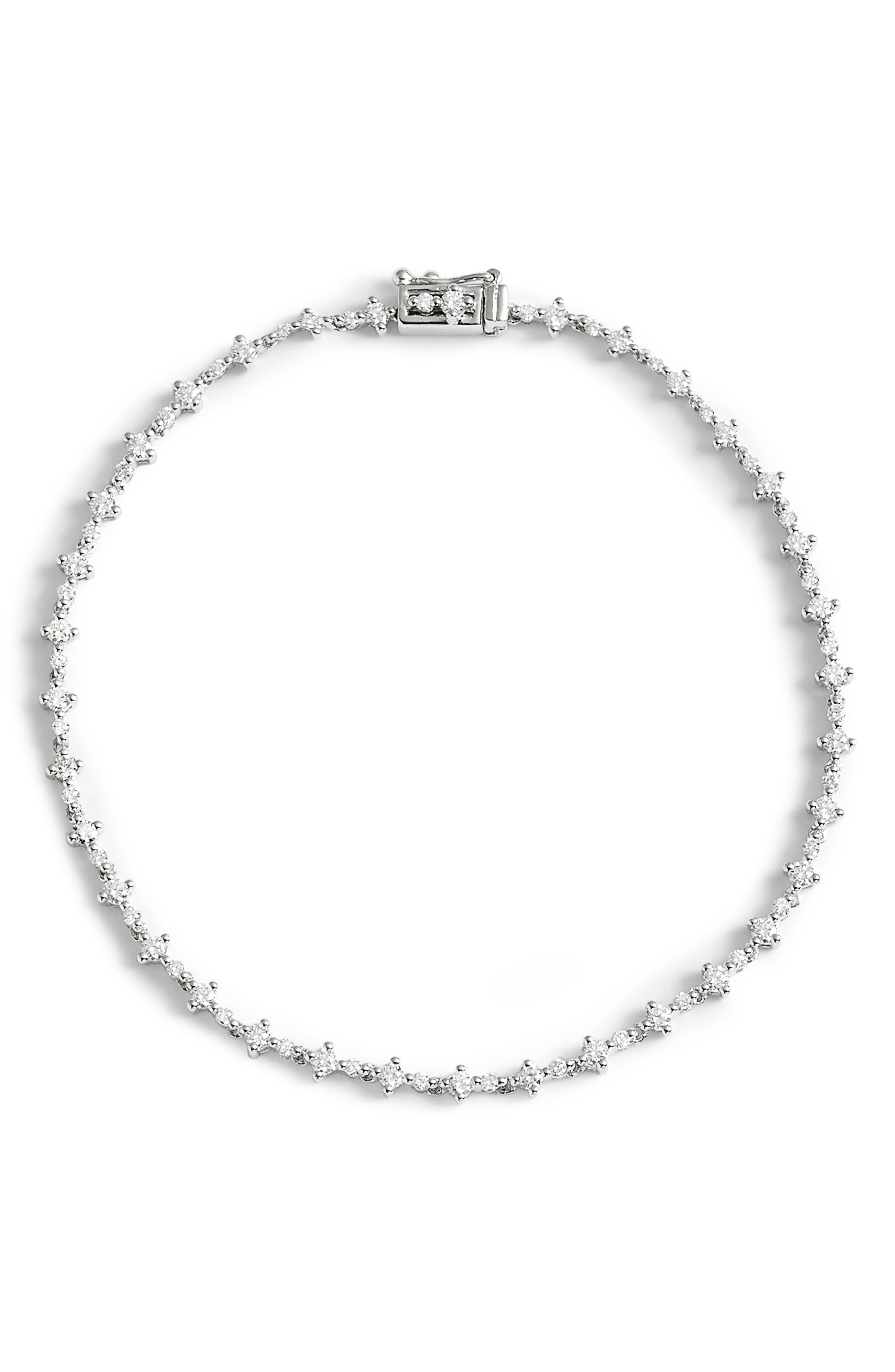 Botanical Diamond Tennis Bracelet,                             Main thumbnail 1, color,                             WHITE GOLD