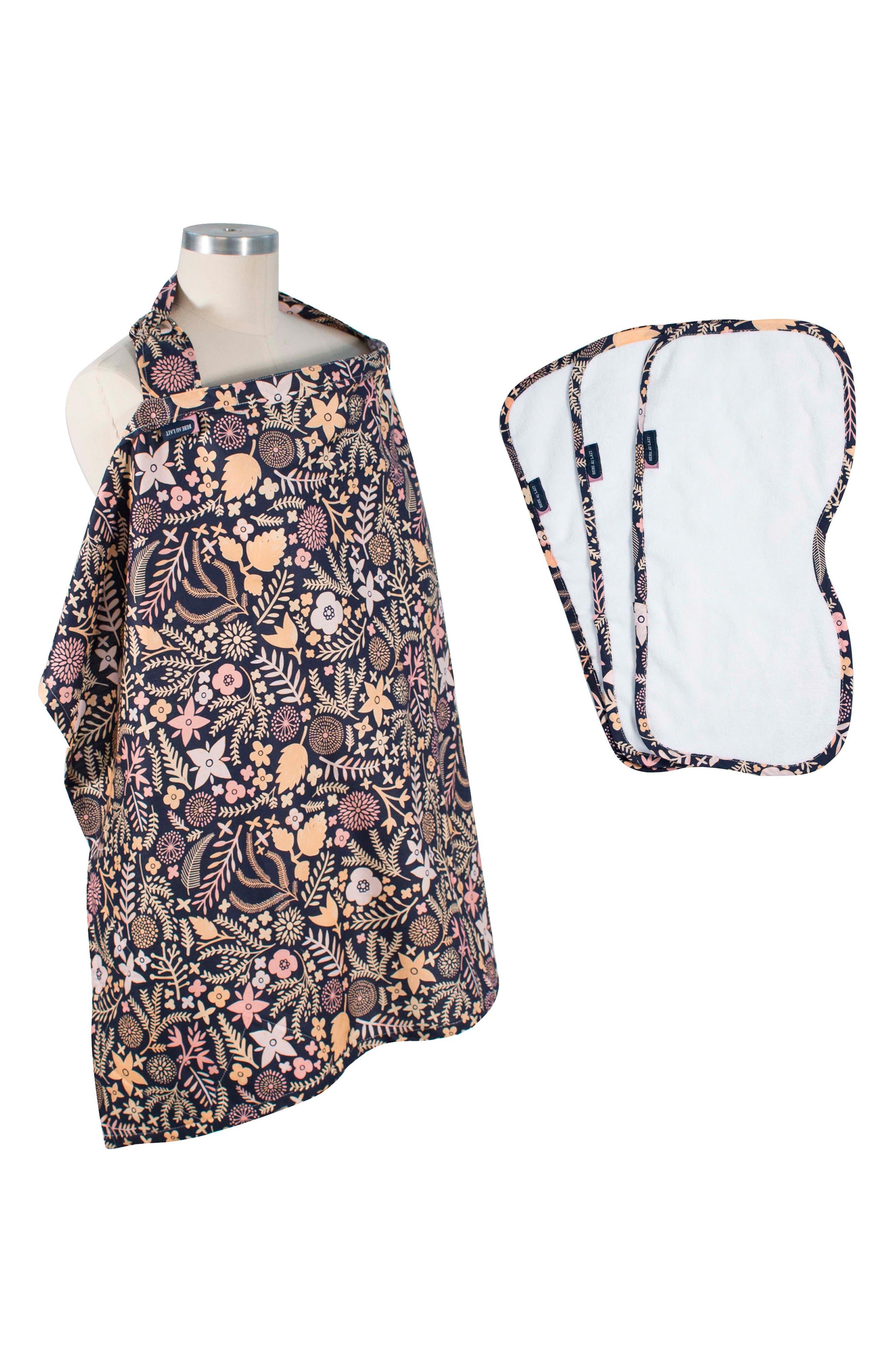 Floral Print Cover & 3-Pack Burp Cloths,                             Main thumbnail 1, color,                             HAVEN