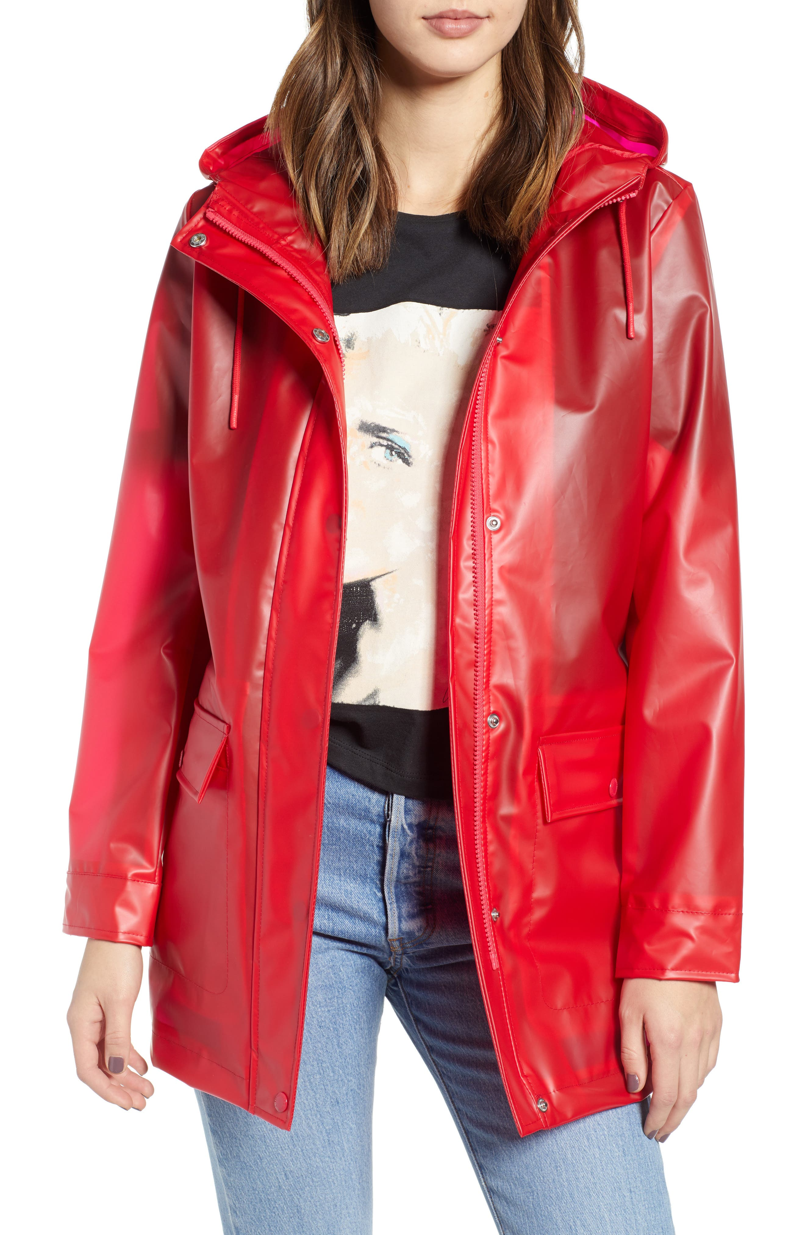 Translucent Rain Jacket, Main, color, RED LYCHEE