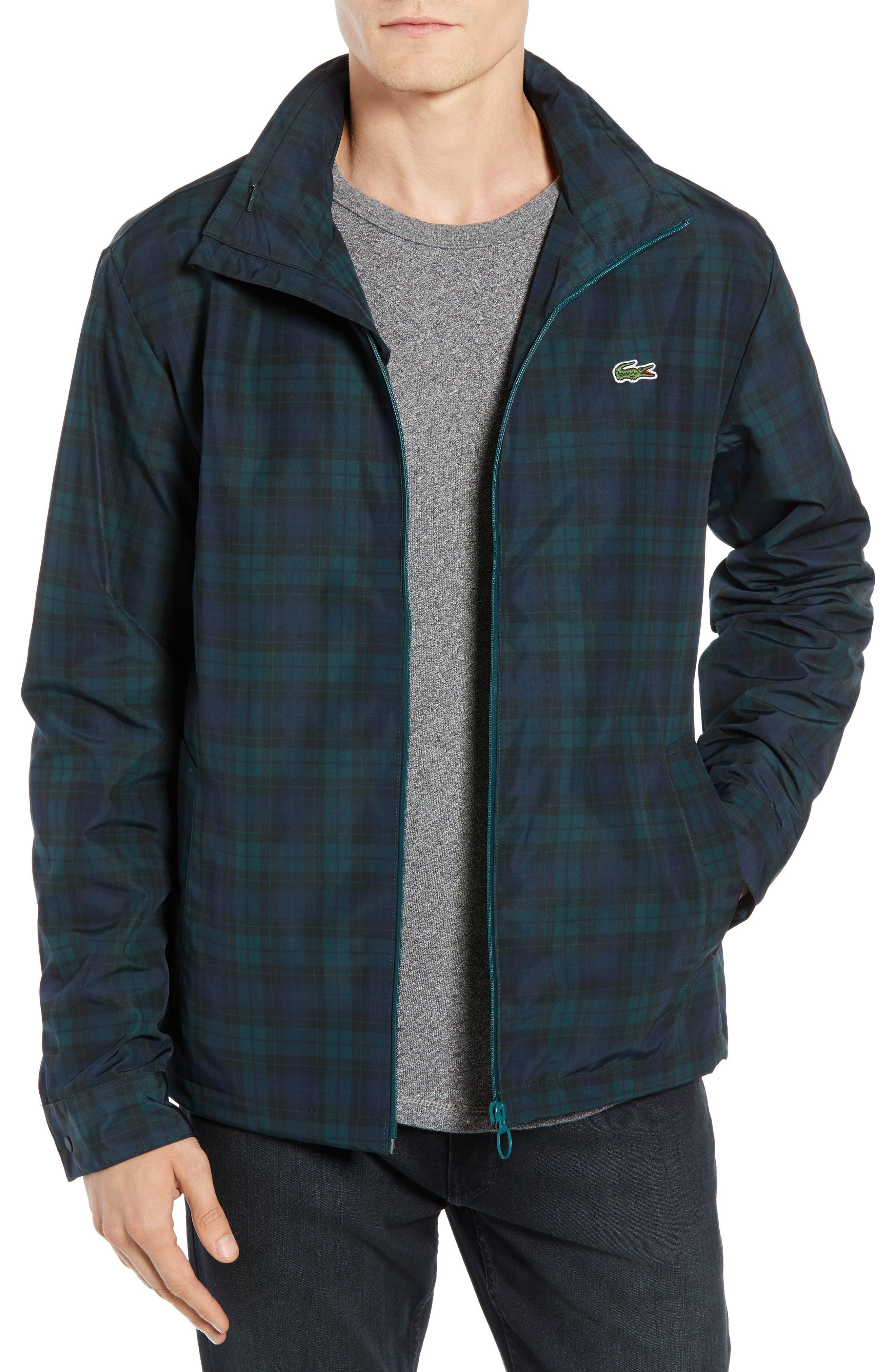 Regular Fit Check Windbreaker Jacket,                         Main,                         color, NAVY BLUE/ SINOPLE BLACK