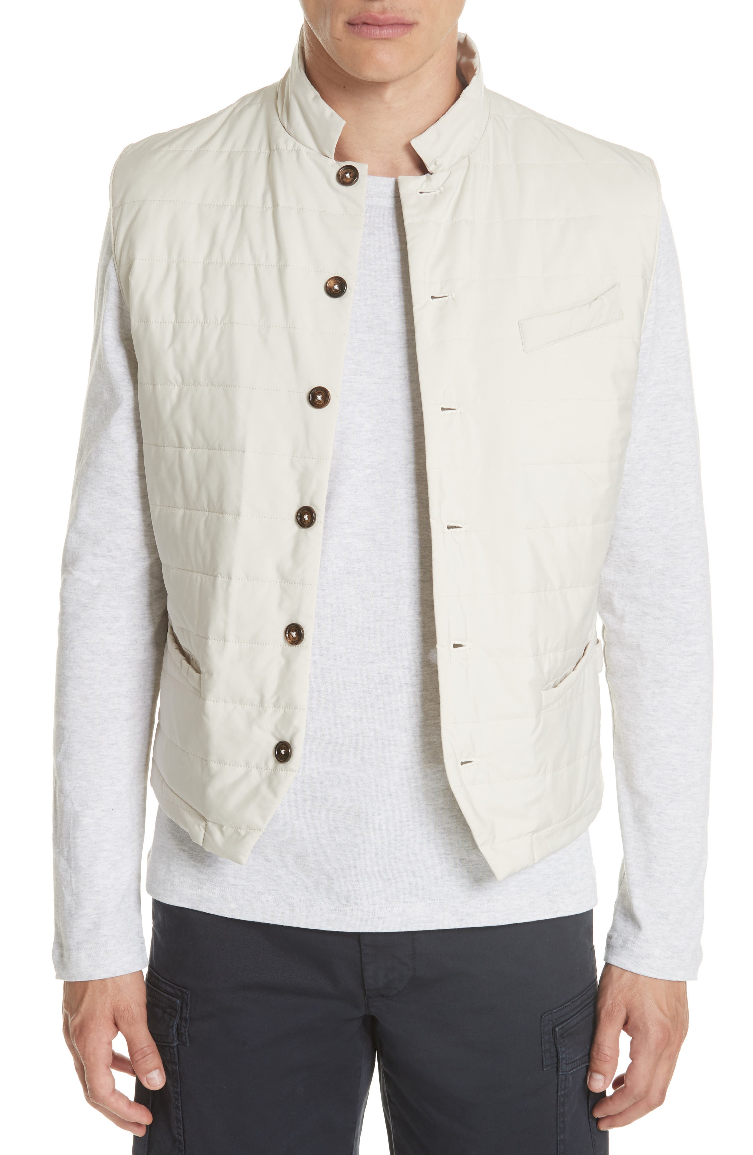 Quilted Vest,                         Main,                         color, SAND