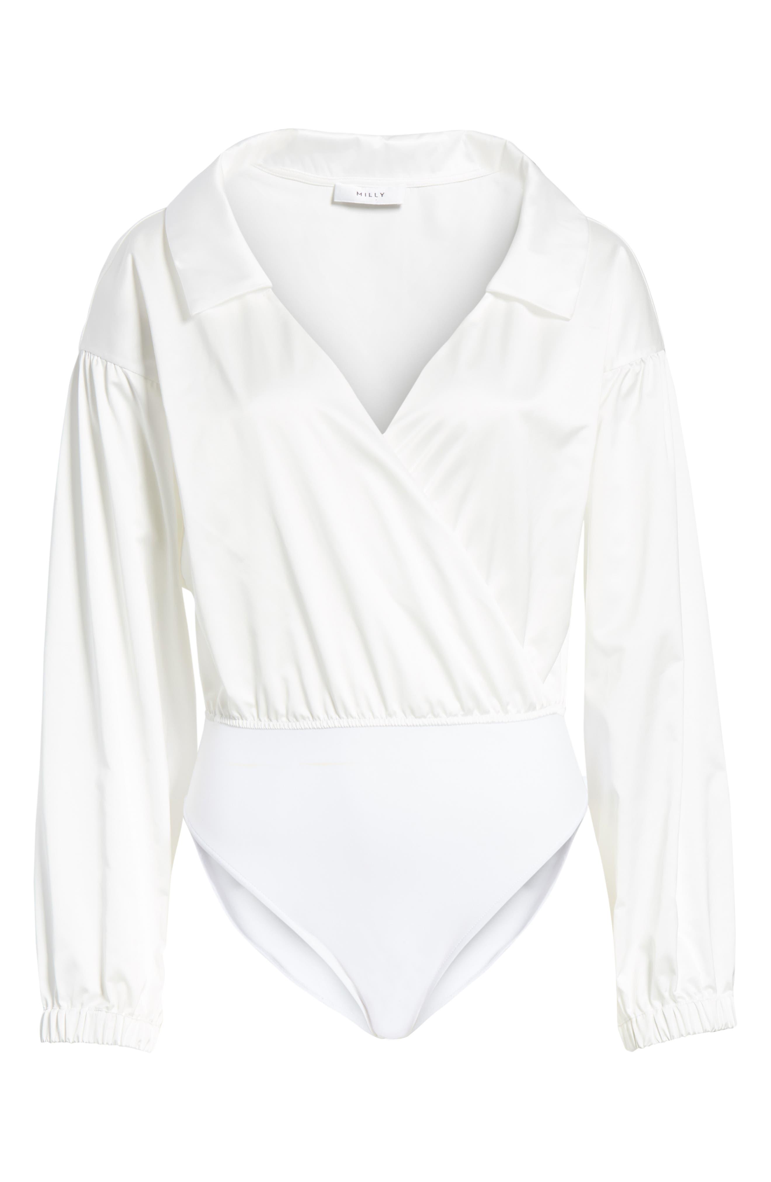 MILLY,                             Italian Duchess Taffeta Wrap Top Bodysuit,                             Alternate thumbnail 6, color,                             150