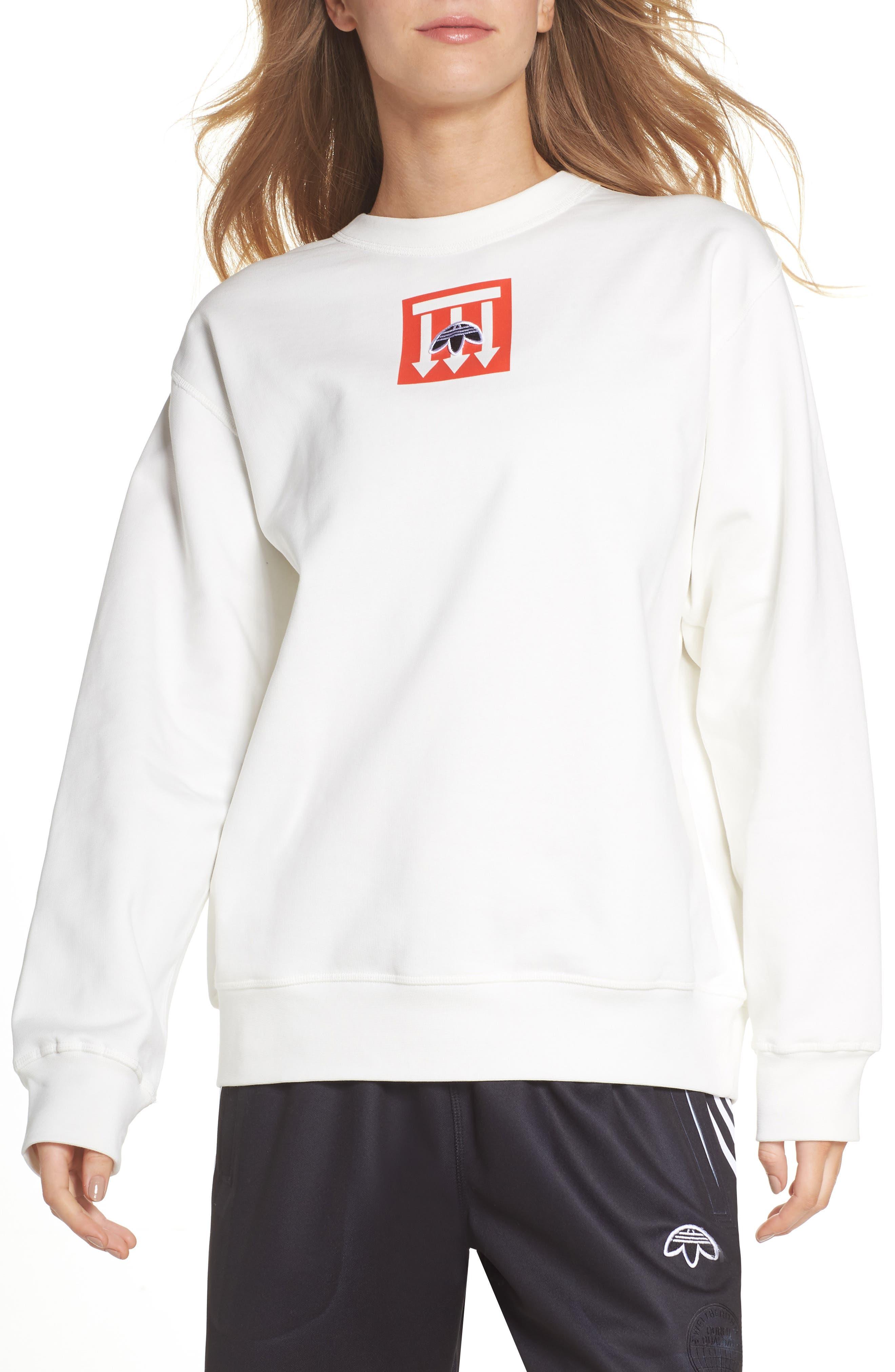 adidas x Alexander Wang Graphite Sweatshirt,                         Main,                         color, 900