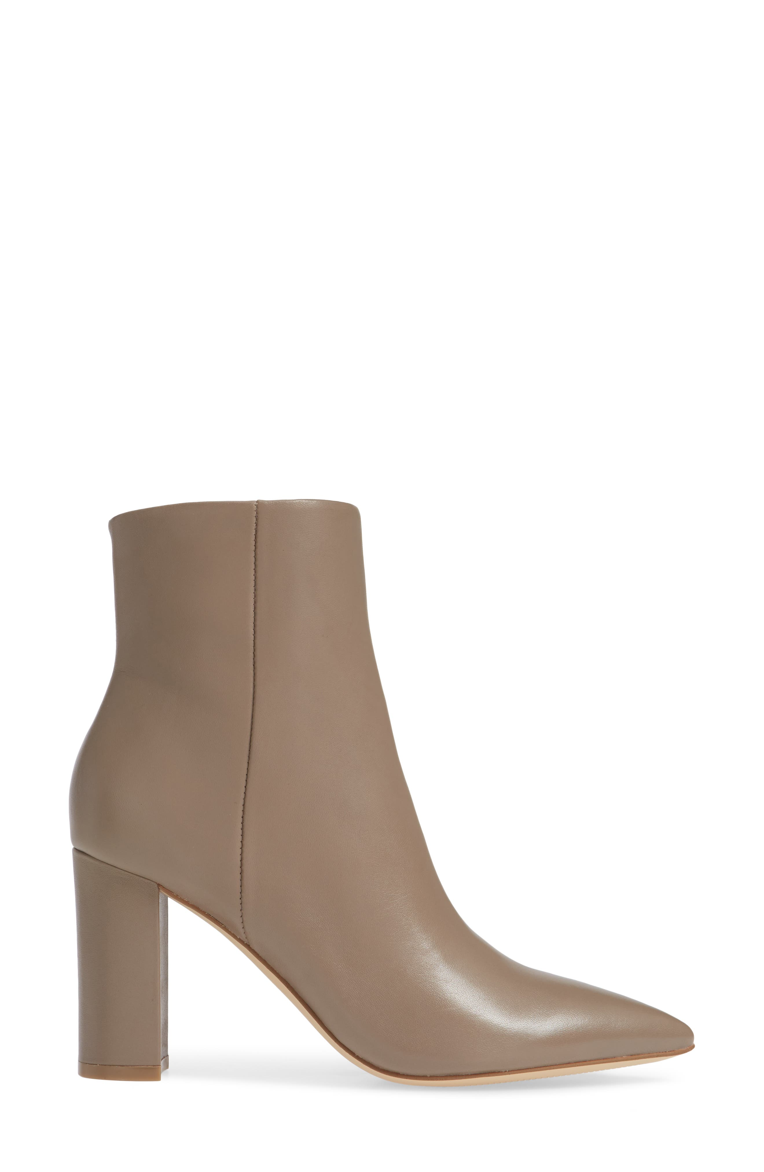 MARC FISHER LTD,                              Ulani Pointy Toe Bootie,                             Alternate thumbnail 3, color,                             TAUPE LEATHER