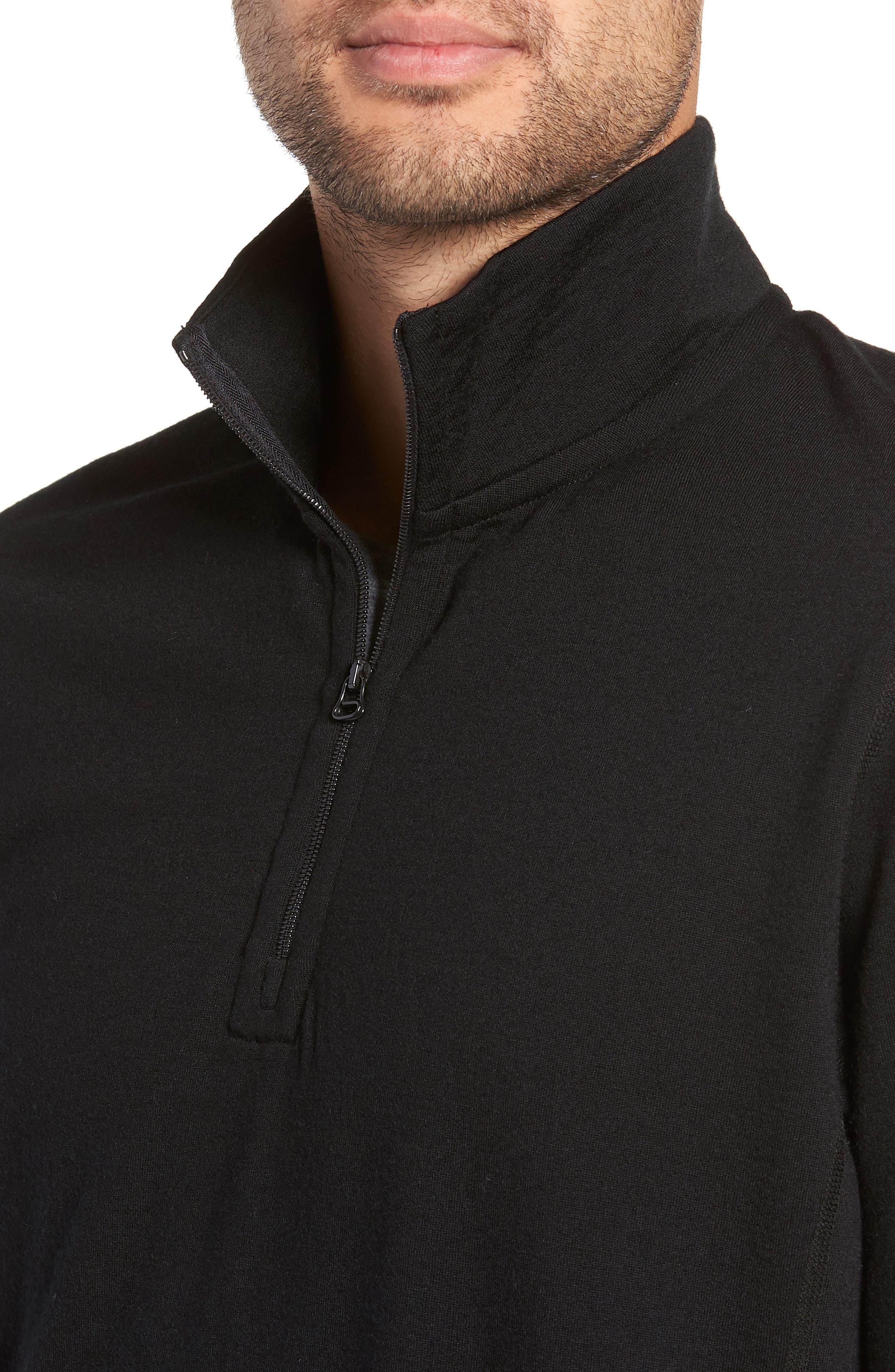 Swedish Merino Wool Trail Shirt,                             Alternate thumbnail 4, color,                             BLACK