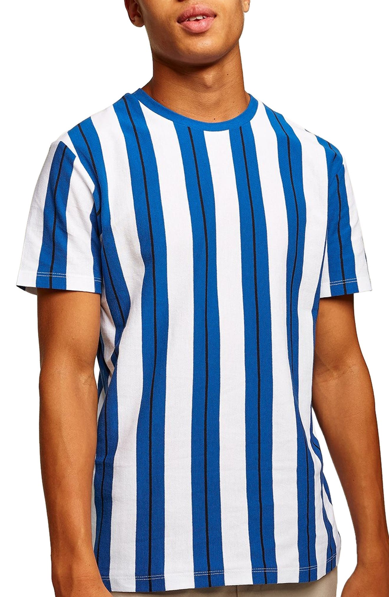 Stripe Piqué T-Shirt,                         Main,                         color, BLUE