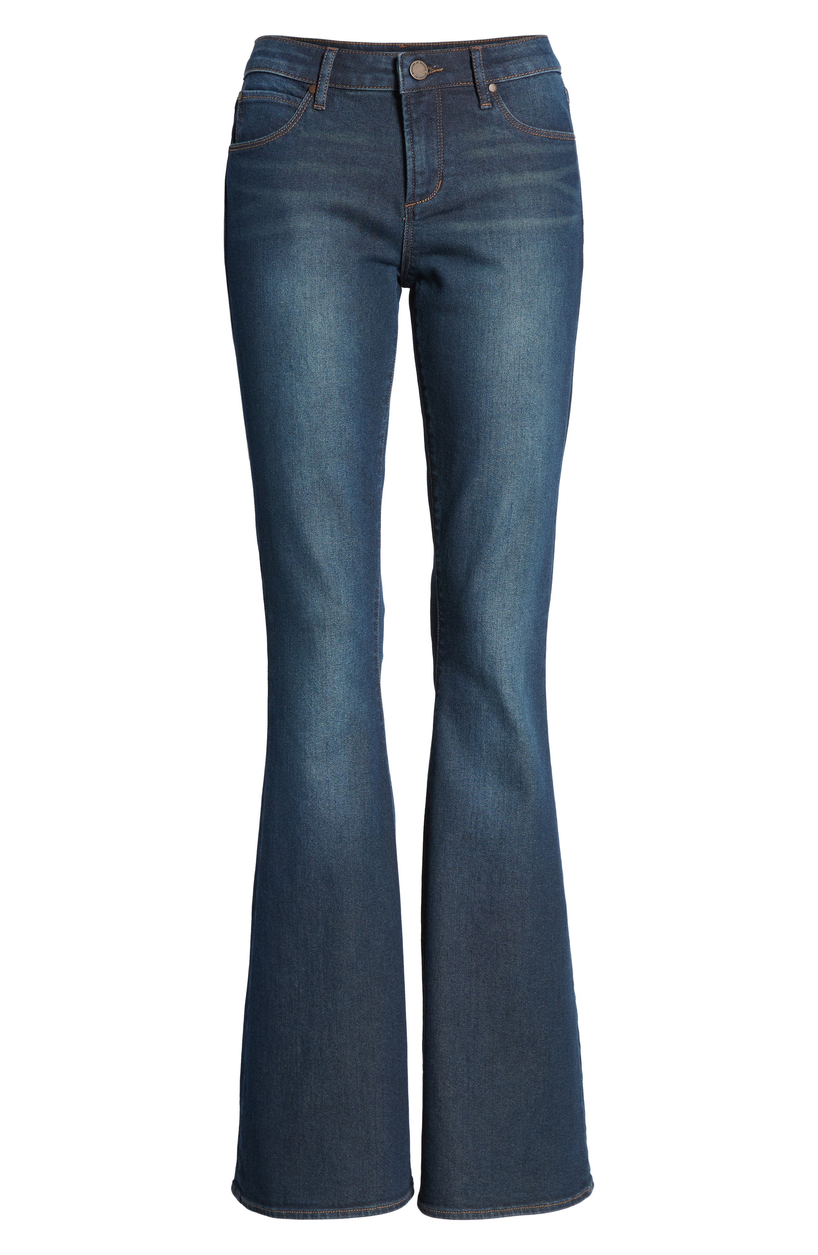 Faith Flare Jeans,                             Alternate thumbnail 7, color,                             NORTHPORT DARK WASH