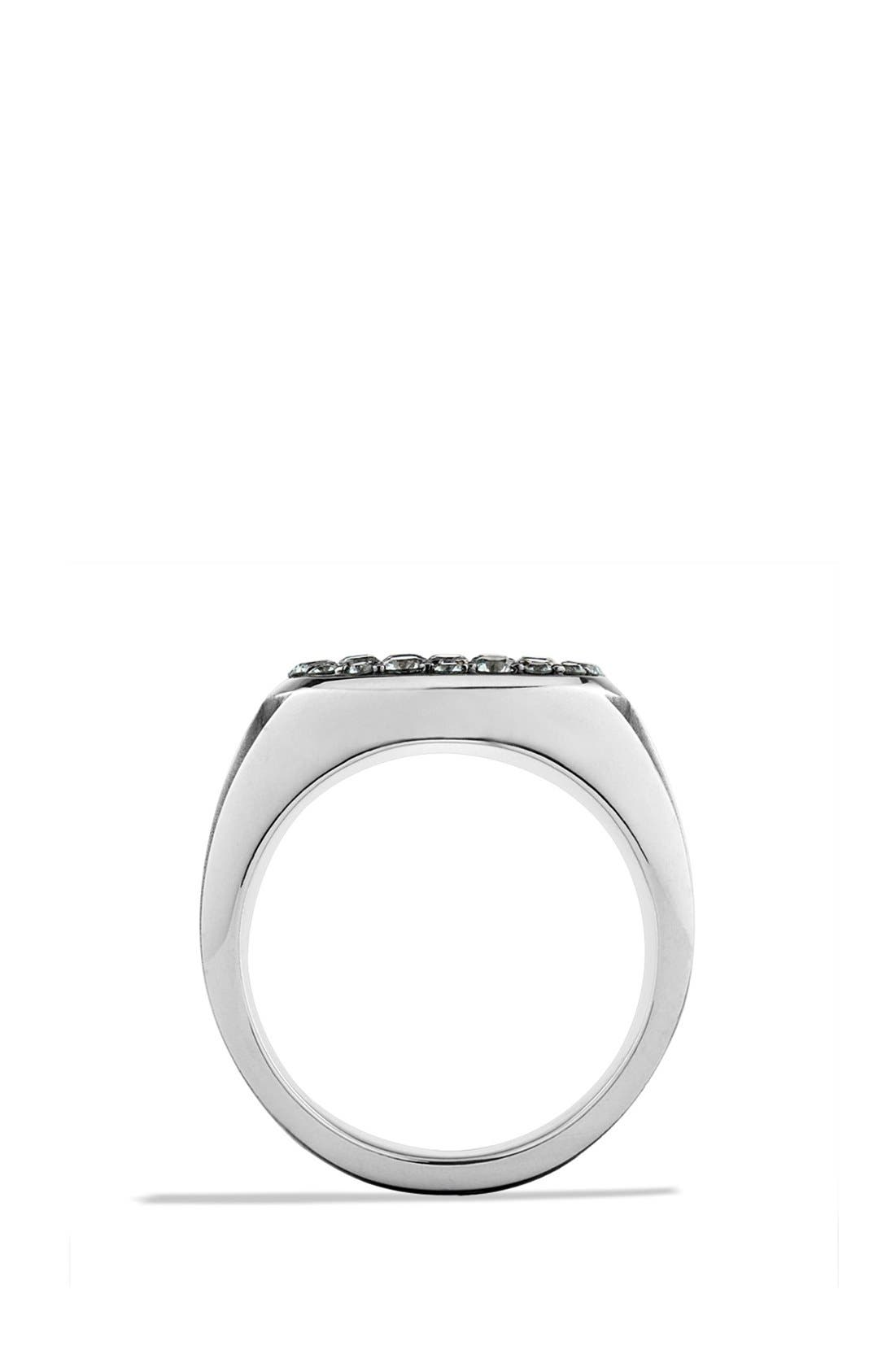 'Knife Edge' Signet Ring with Black Diamonds,                             Alternate thumbnail 4, color,