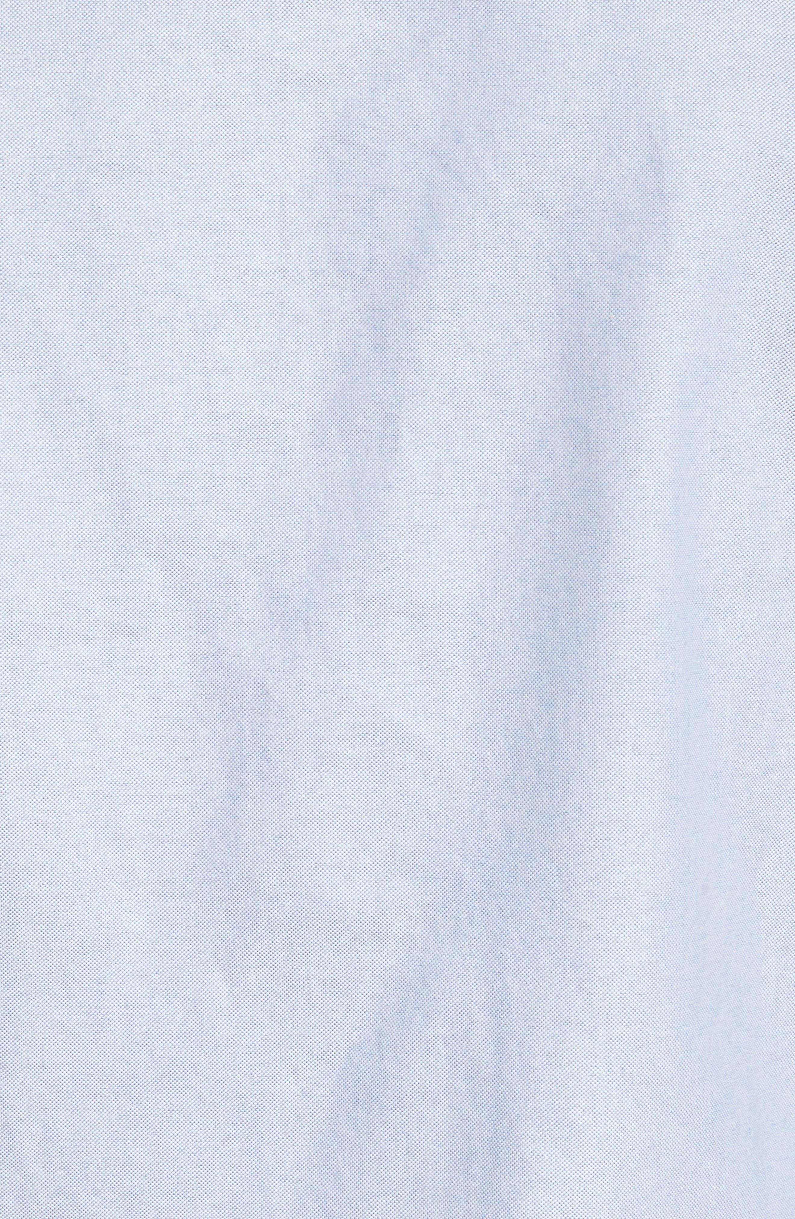 Extra Trim Fit Oxford Shirt with Grosgrain Trim,                             Alternate thumbnail 2, color,                             LIGHT BLUE
