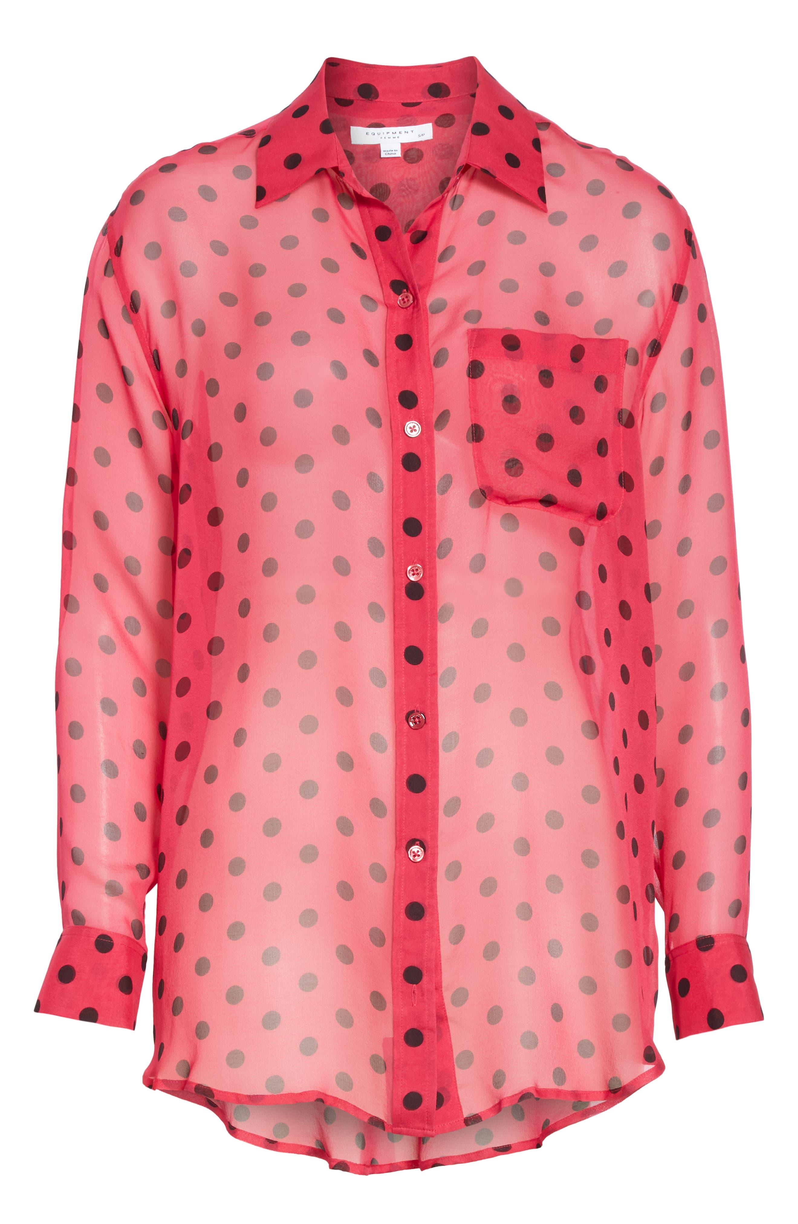 Daddy Polka Dot Silk Shirt,                             Alternate thumbnail 6, color,                             AMARANTH TRUE BLACK