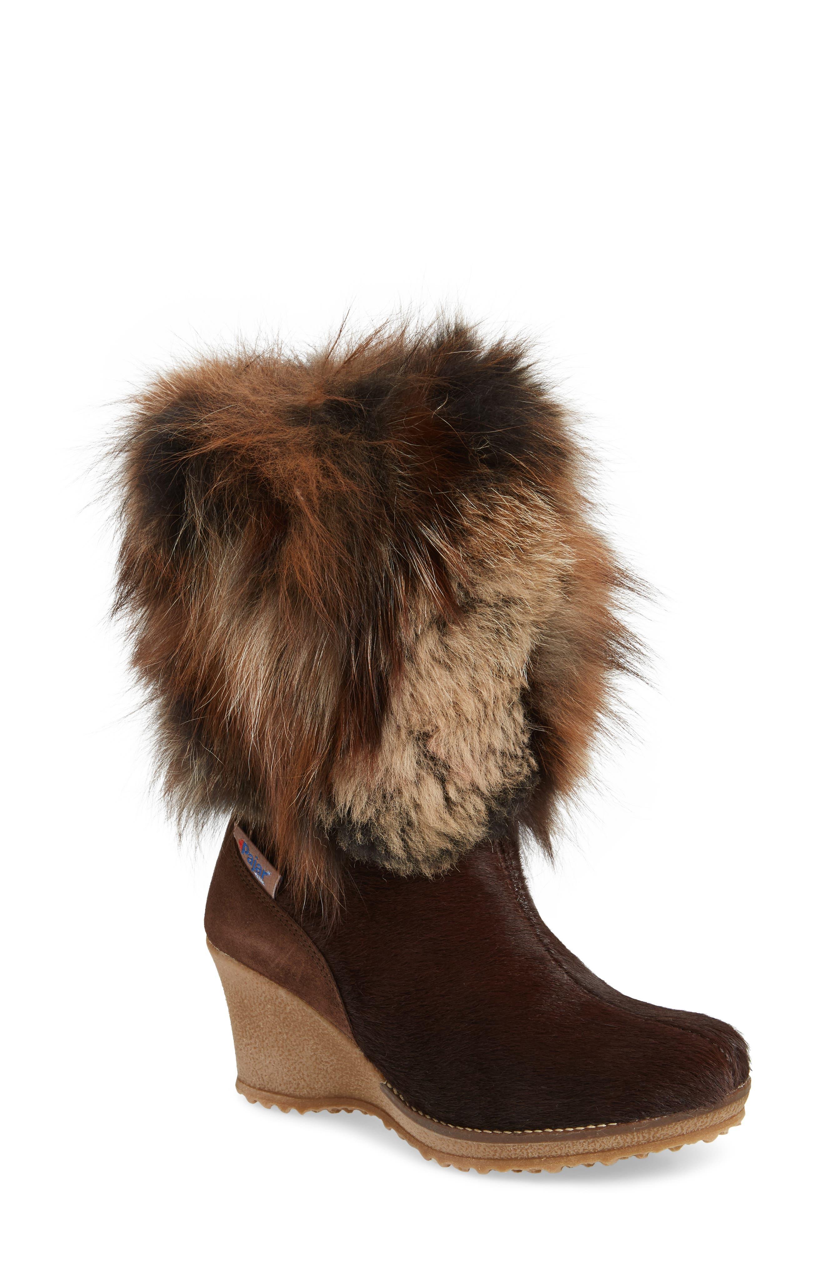 Angelina Genuine Fox Fur Wedge Boot,                             Main thumbnail 3, color,