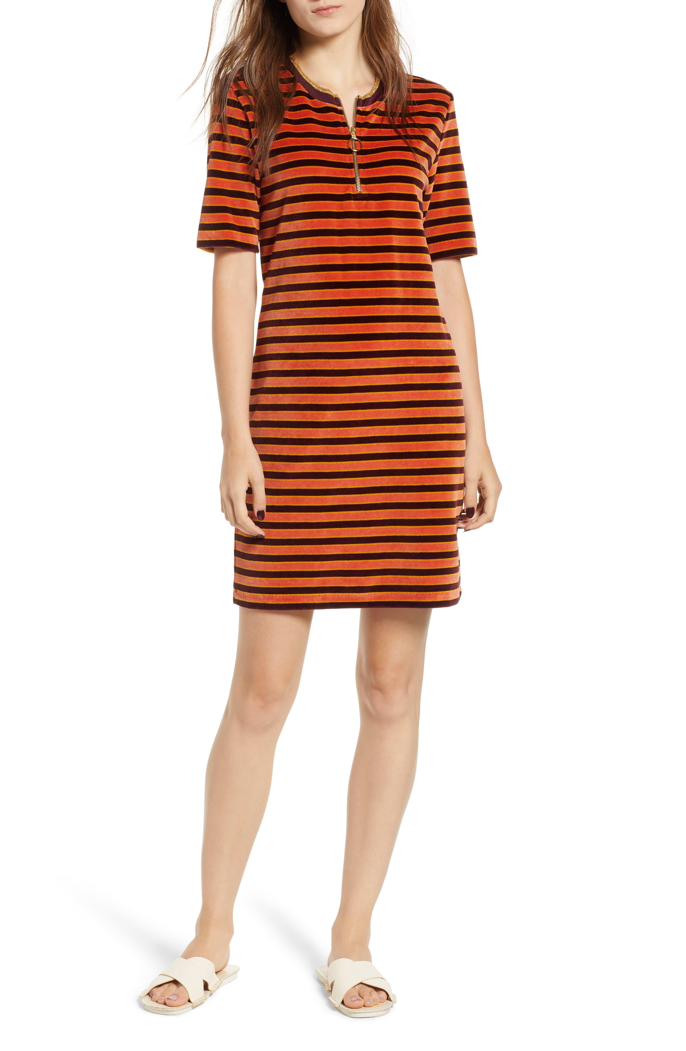 Striped Short Sleeve Velour Dress,                             Main thumbnail 1, color,                             ORANGE BURGUNDY STRIPE