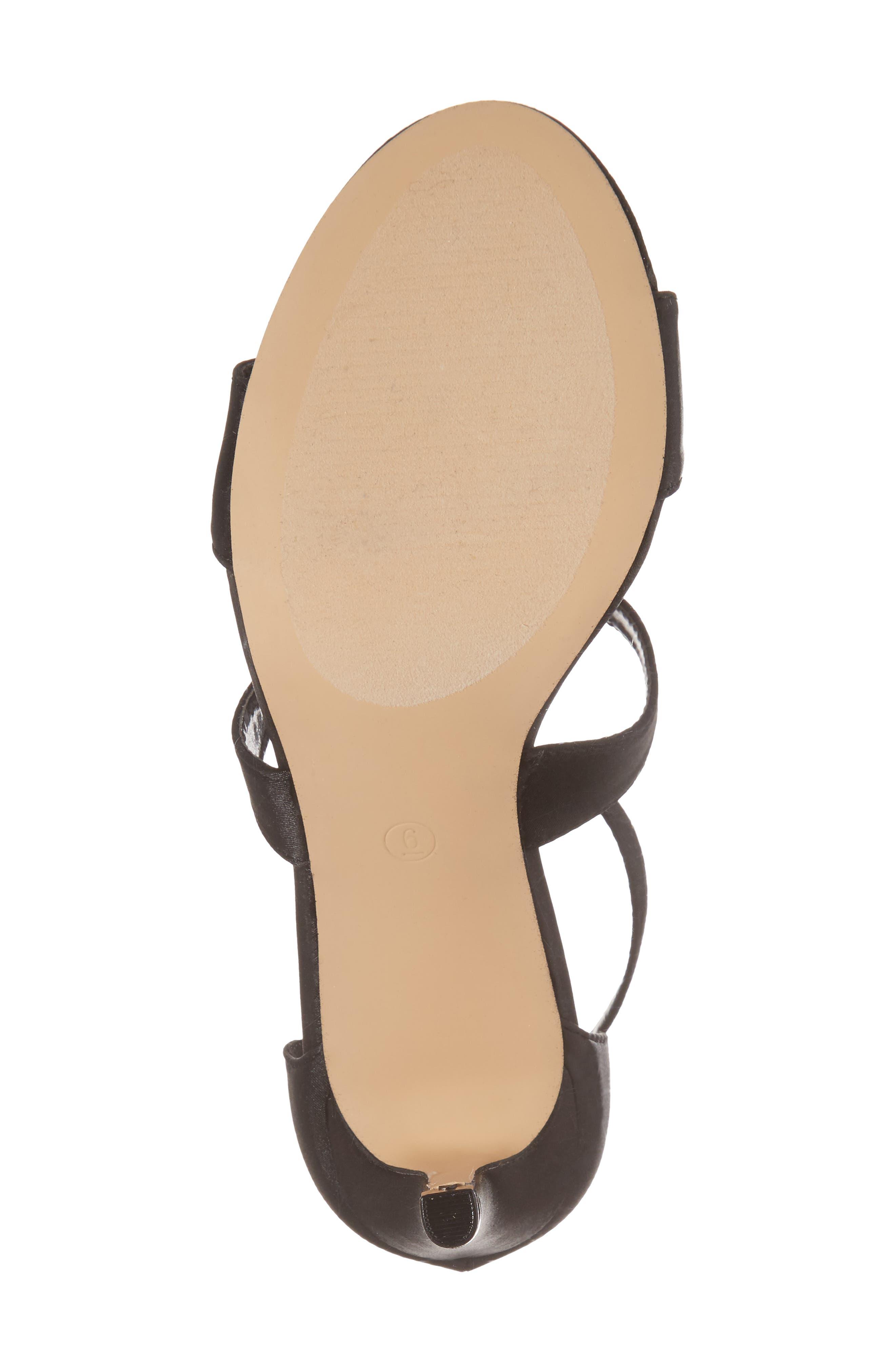 Ritz Crystal Embellished Sandal,                             Alternate thumbnail 6, color,                             BLACK FABRIC