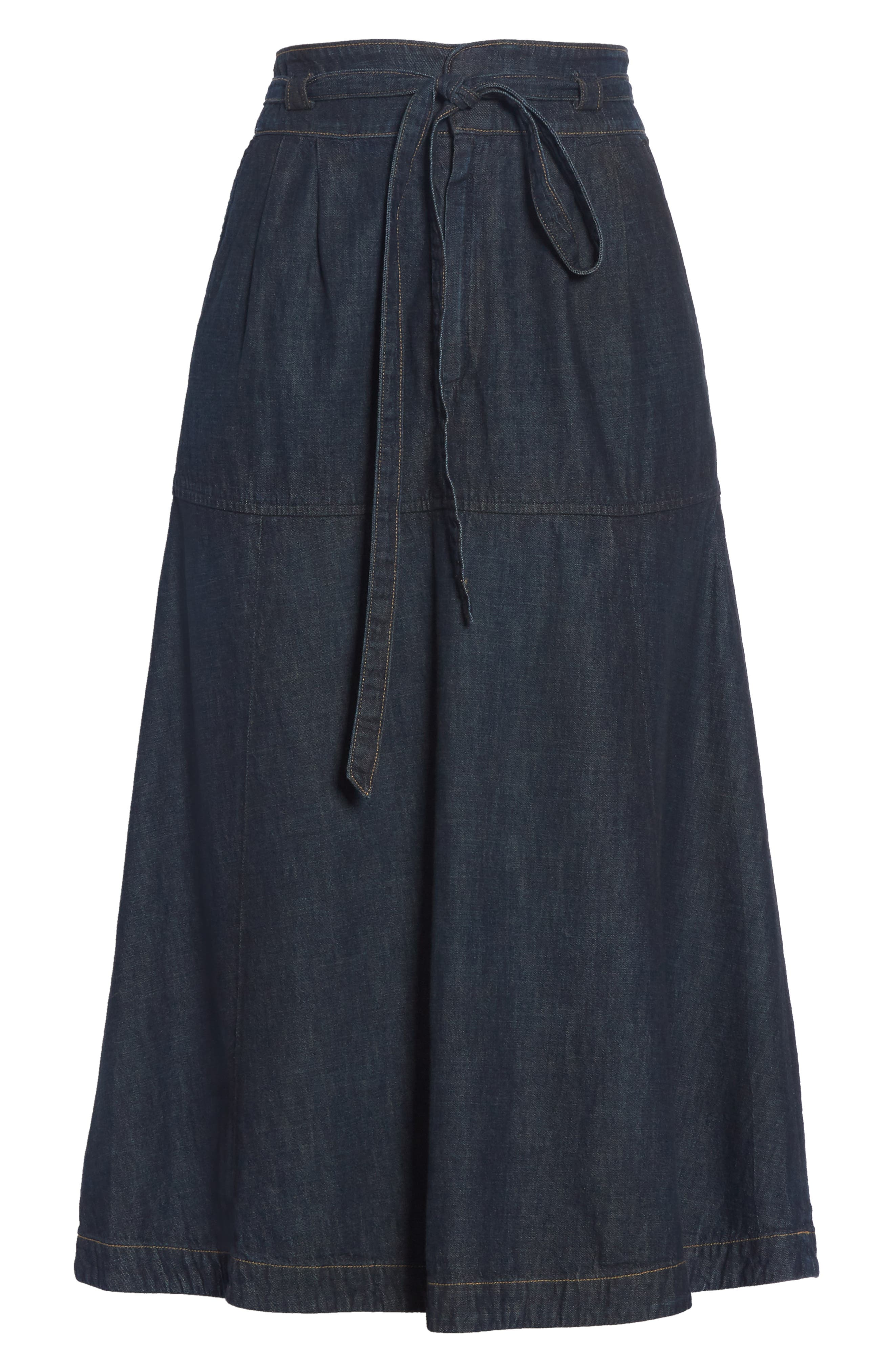 Denim Midi Skirt,                             Alternate thumbnail 6, color,                             DARK INDIGO