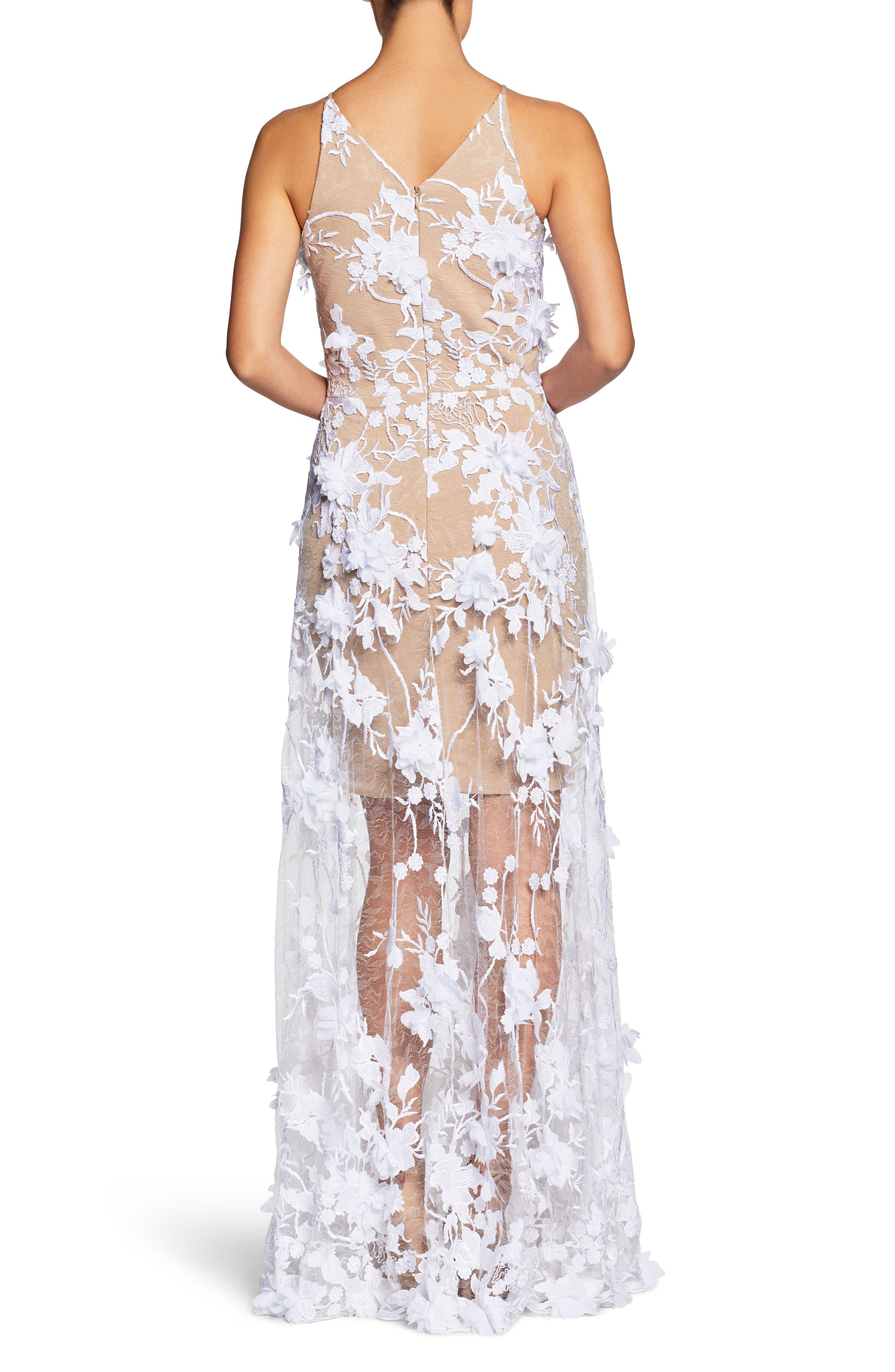 Sidney Deep V-Neck 3D Lace Gown,                             Alternate thumbnail 5, color,