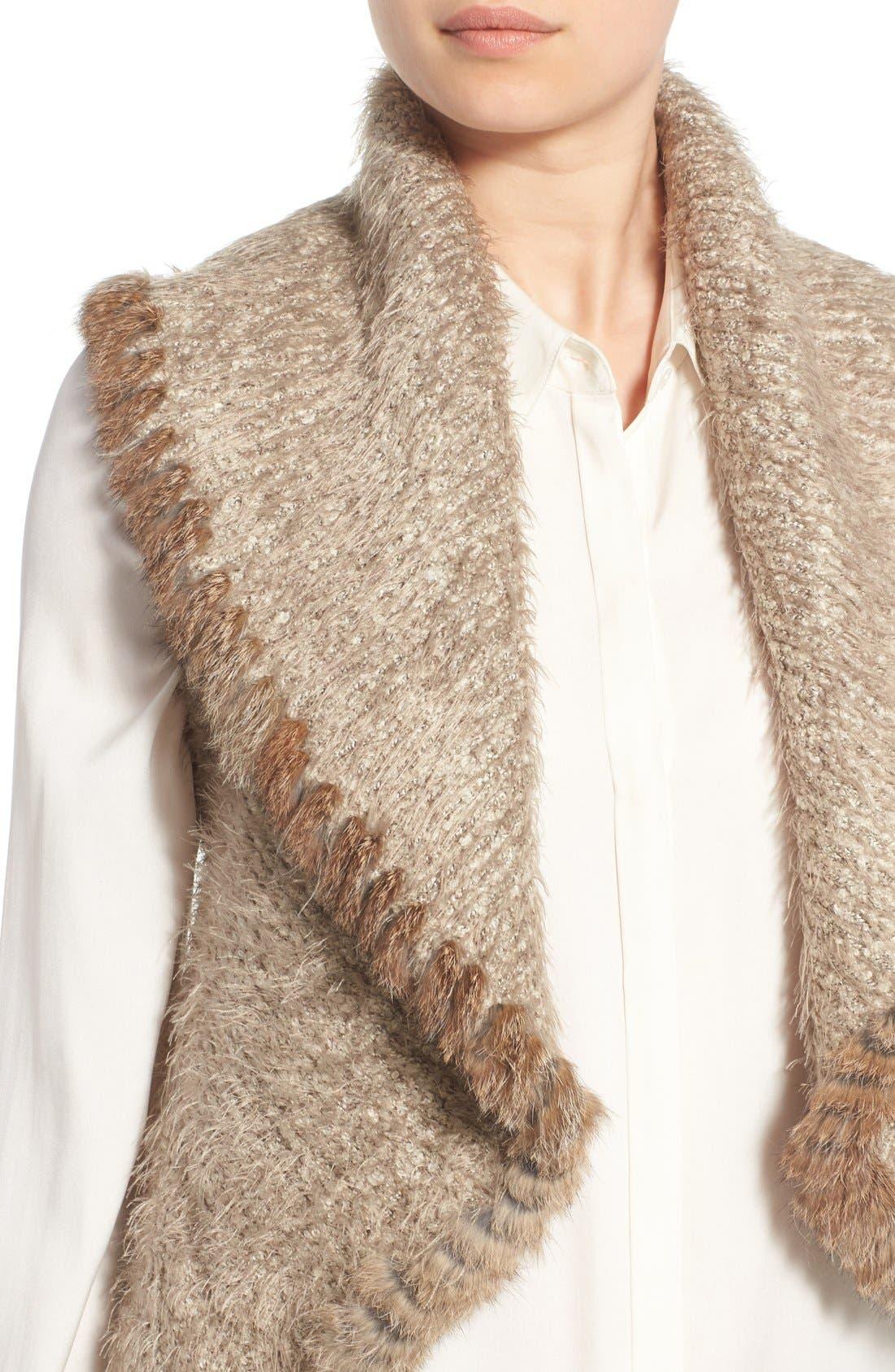 Knit Vest with Genuine Rabbit Fur Trim,                             Alternate thumbnail 5, color,