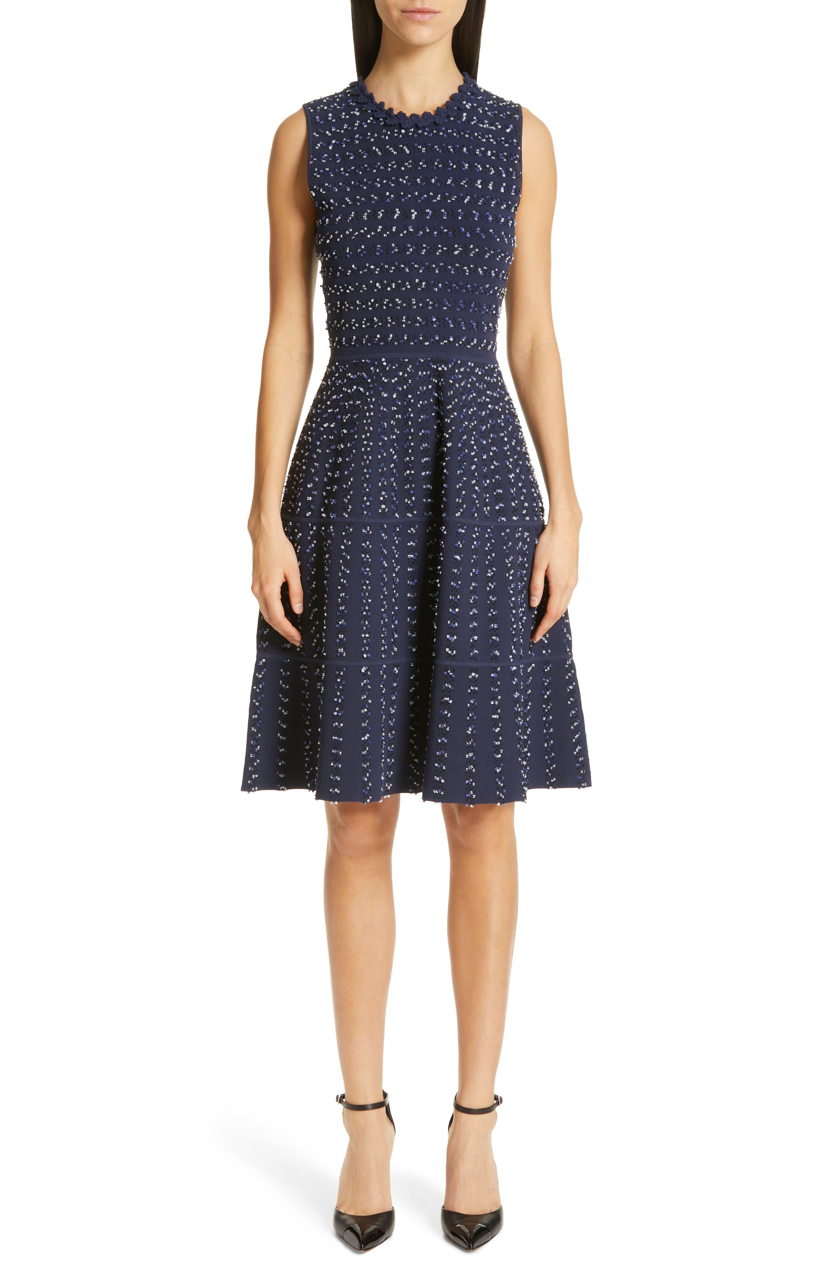 Lela Rose Speckled Tweed Sweater Dress, Blue