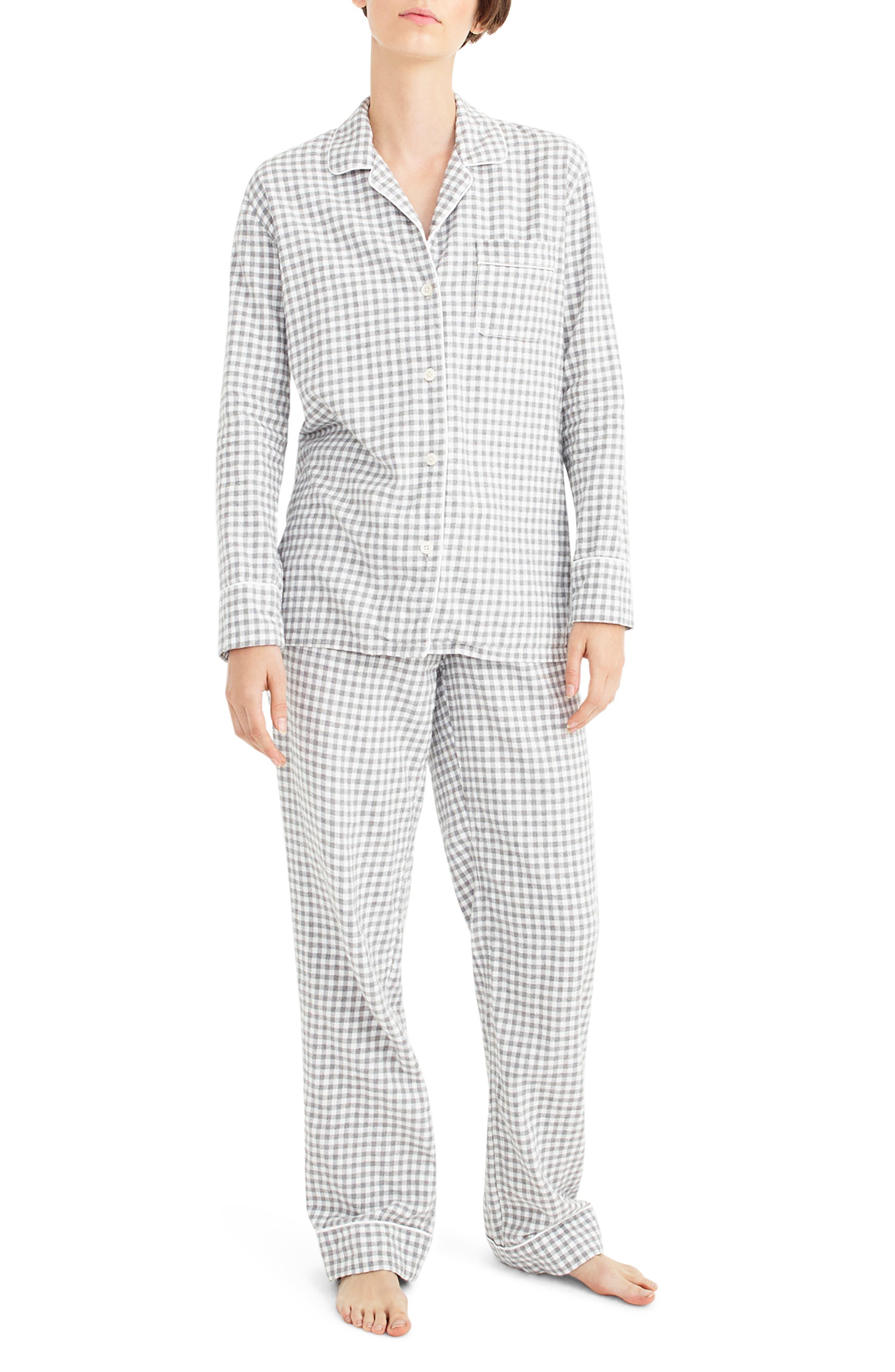 Gingham Flannel Pajamas,                             Main thumbnail 1, color,                             090