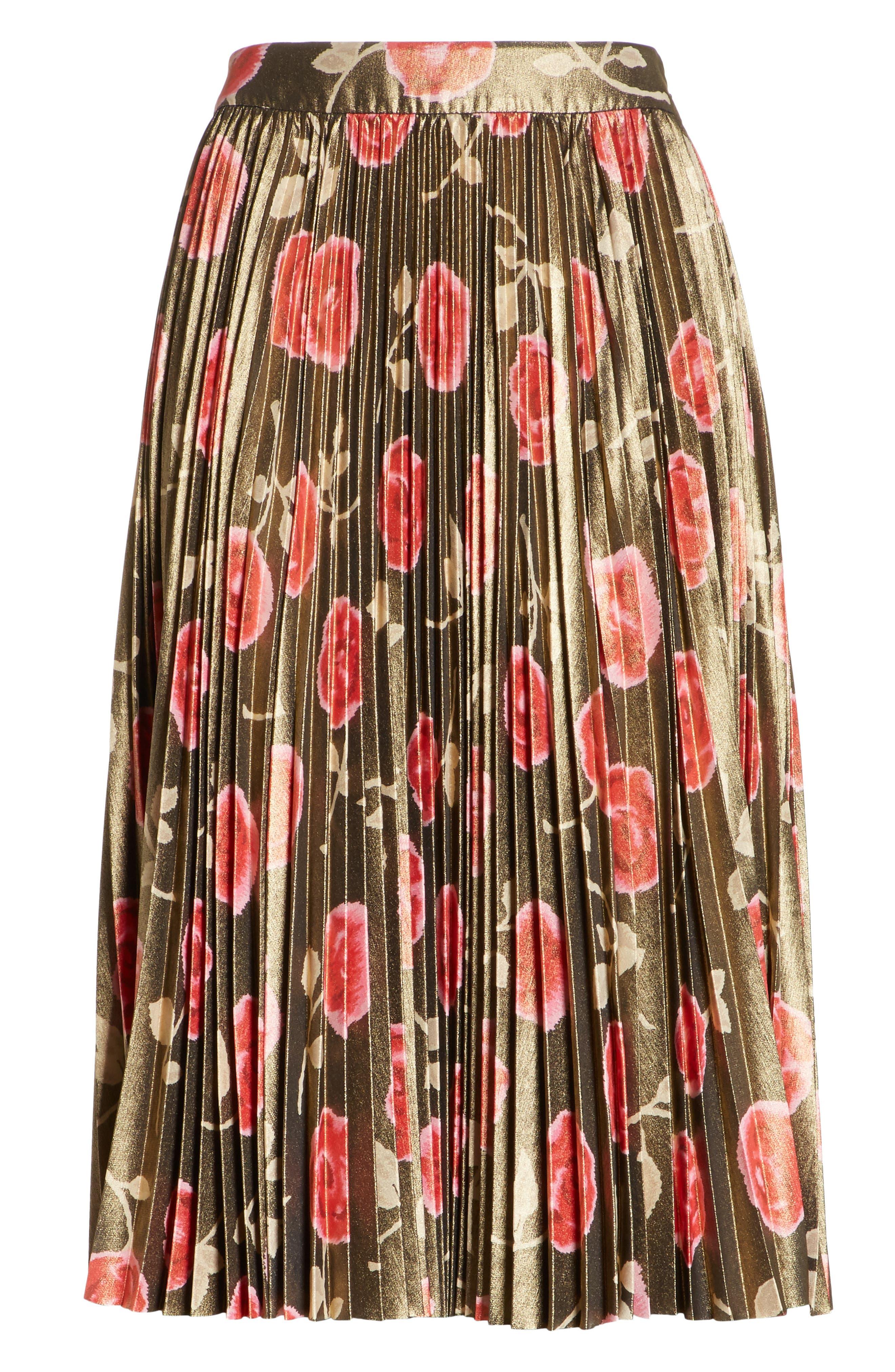 hazy rose pleated metallic skirt,                             Alternate thumbnail 6, color,                             006