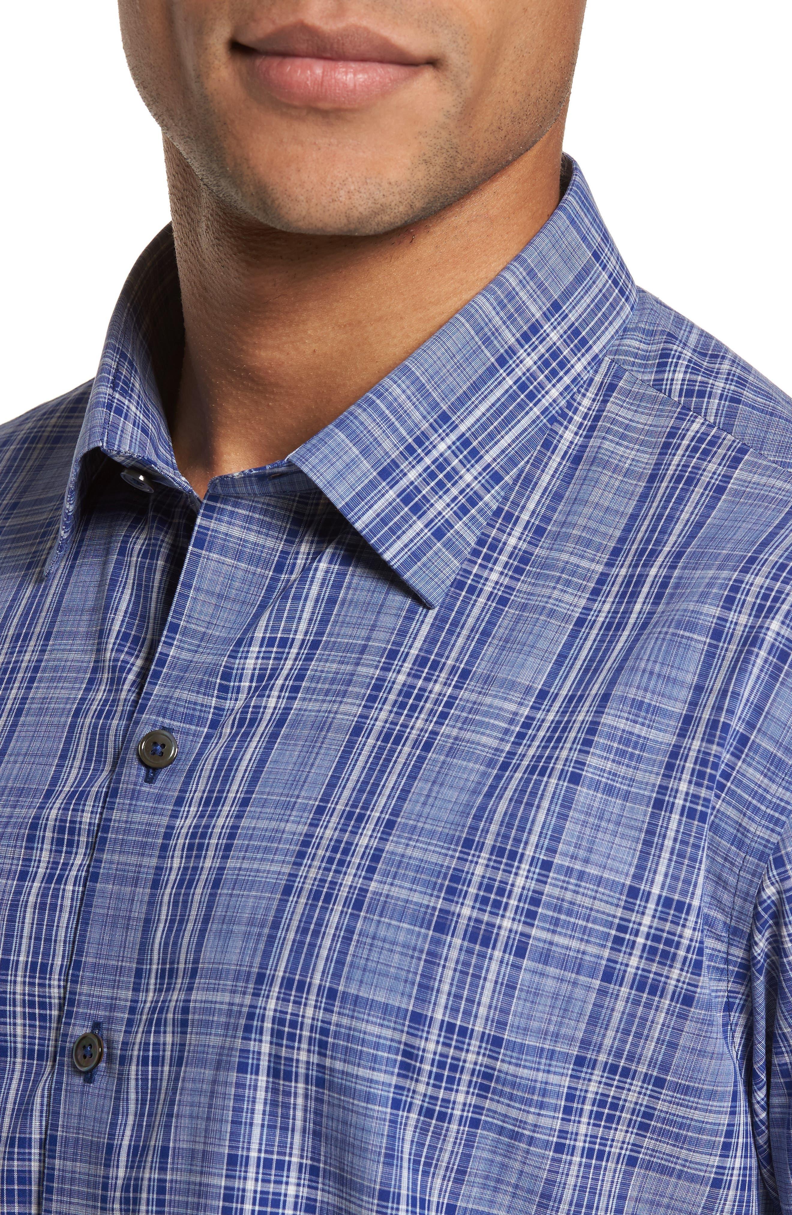 Santos Plaid Sport Shirt,                             Alternate thumbnail 4, color,                             432
