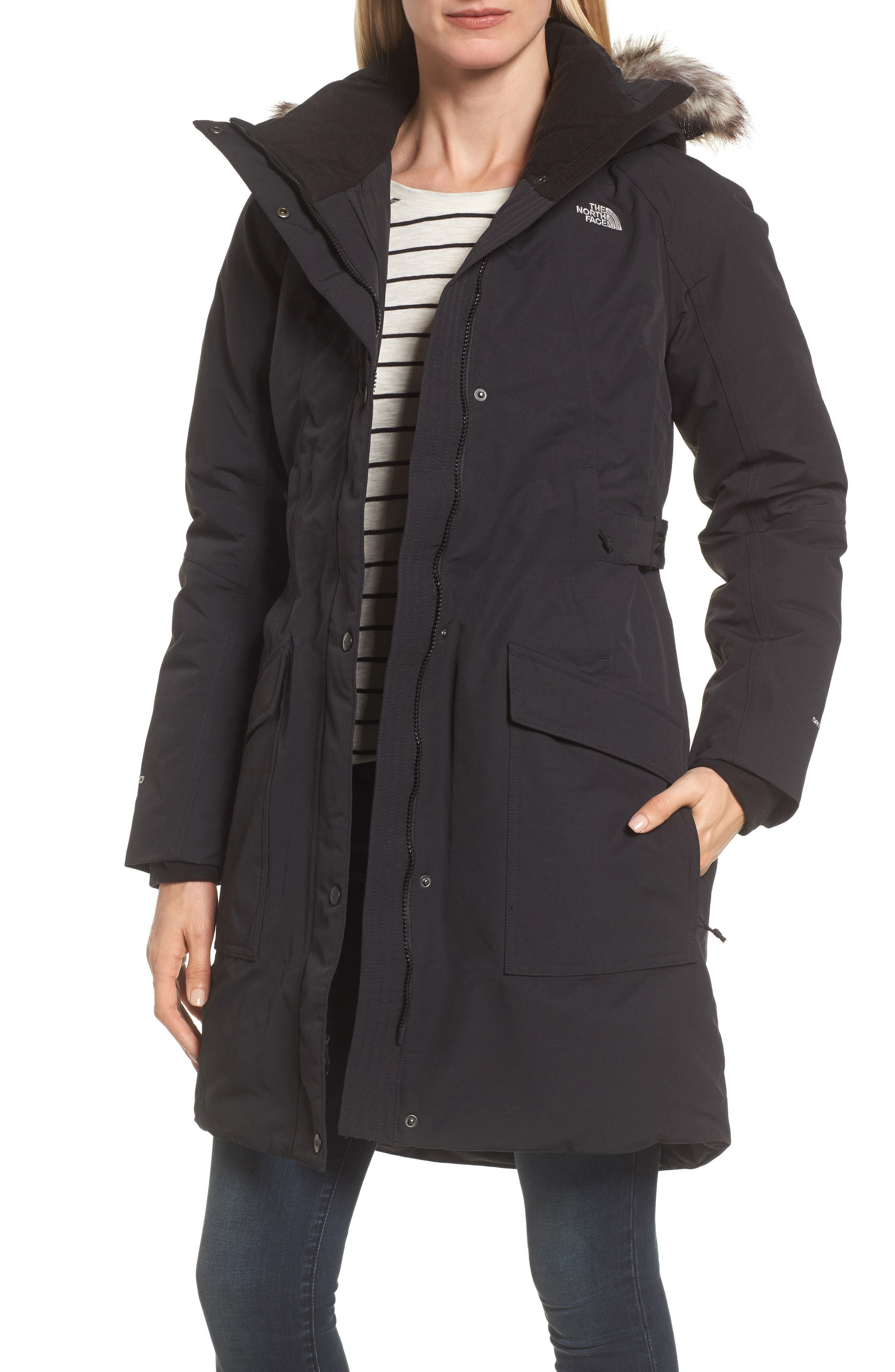 Outer Boroughs Waterproof 550-Fill Power Down Parka with Faux Fur Trim,                         Main,                         color, TNF BLACK