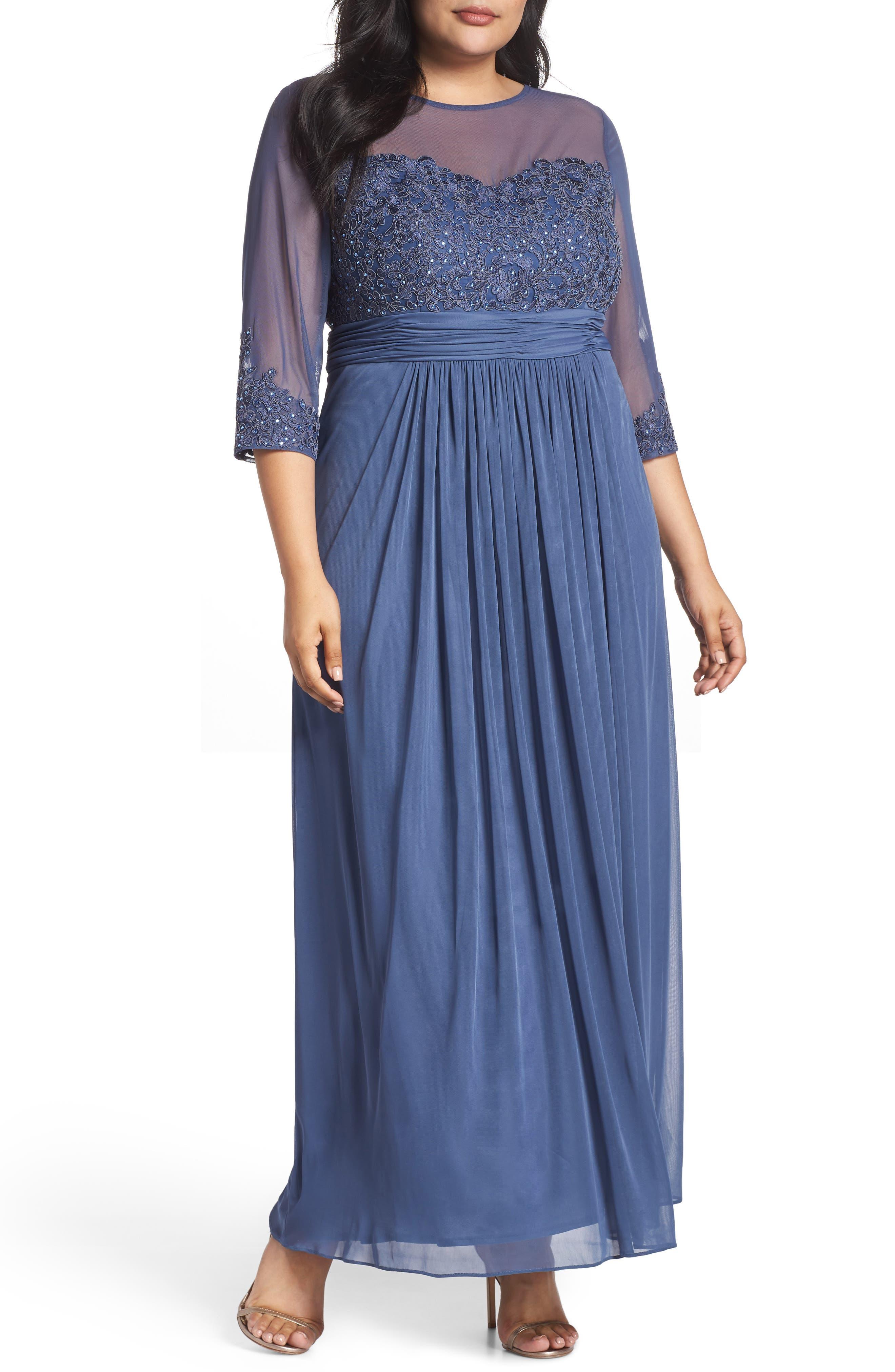 Edwardian Ladies Clothing – 1900, 1910s, Titanic Era Plus Size Womens Alex Evenings Embellished Illusion Sweetheart A-Line Gown Size 18W - Purple $279.00 AT vintagedancer.com