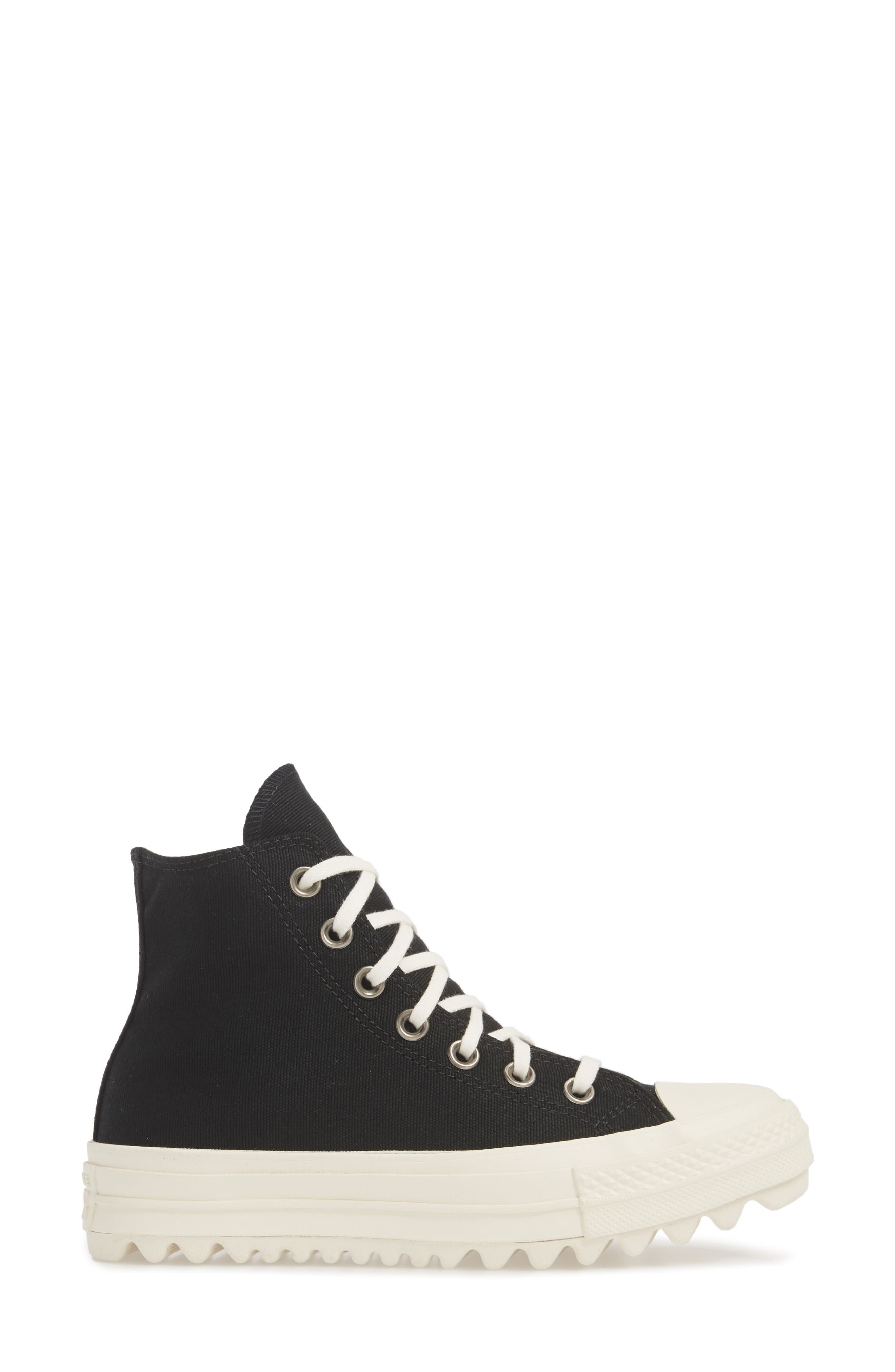 Chuck Taylor<sup>®</sup> All Star<sup>®</sup> Ripple High Top Sneaker,                             Alternate thumbnail 3, color,                             001
