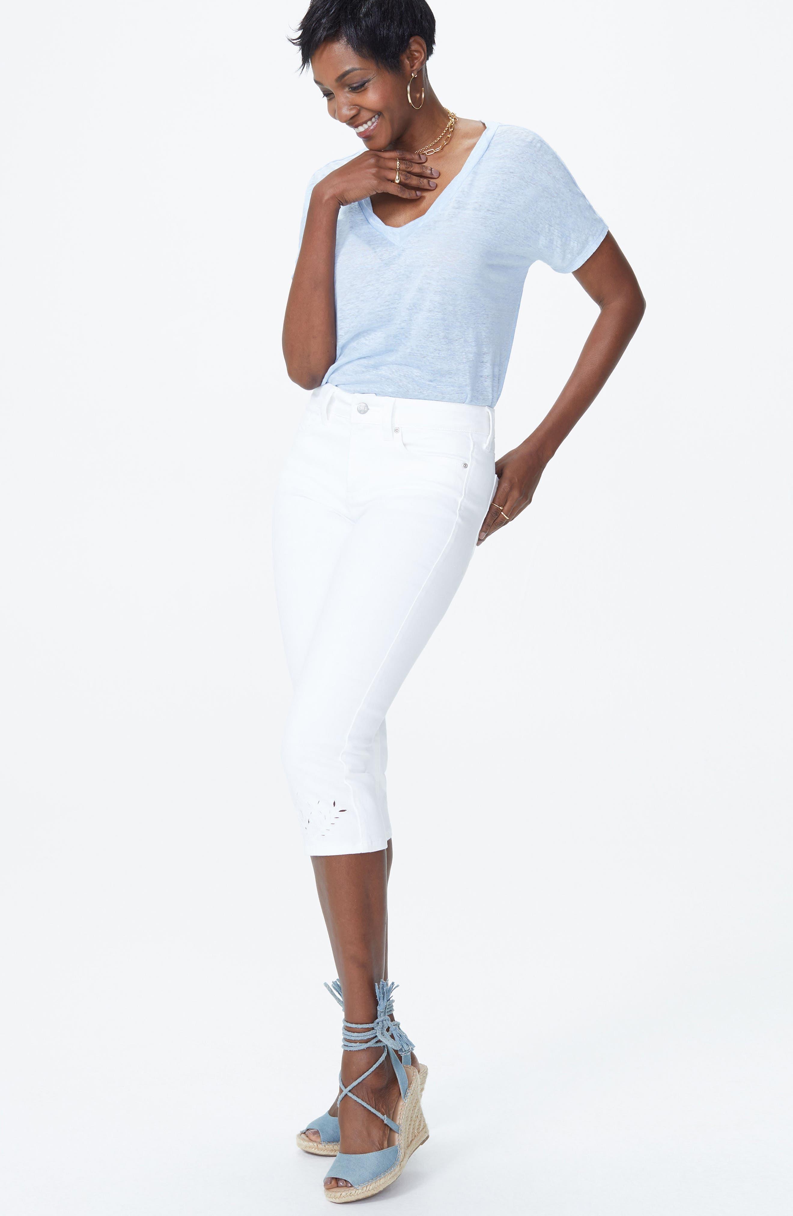 Marilyn Eyelet Hem Stretch Crop Jeans,                             Alternate thumbnail 6, color,