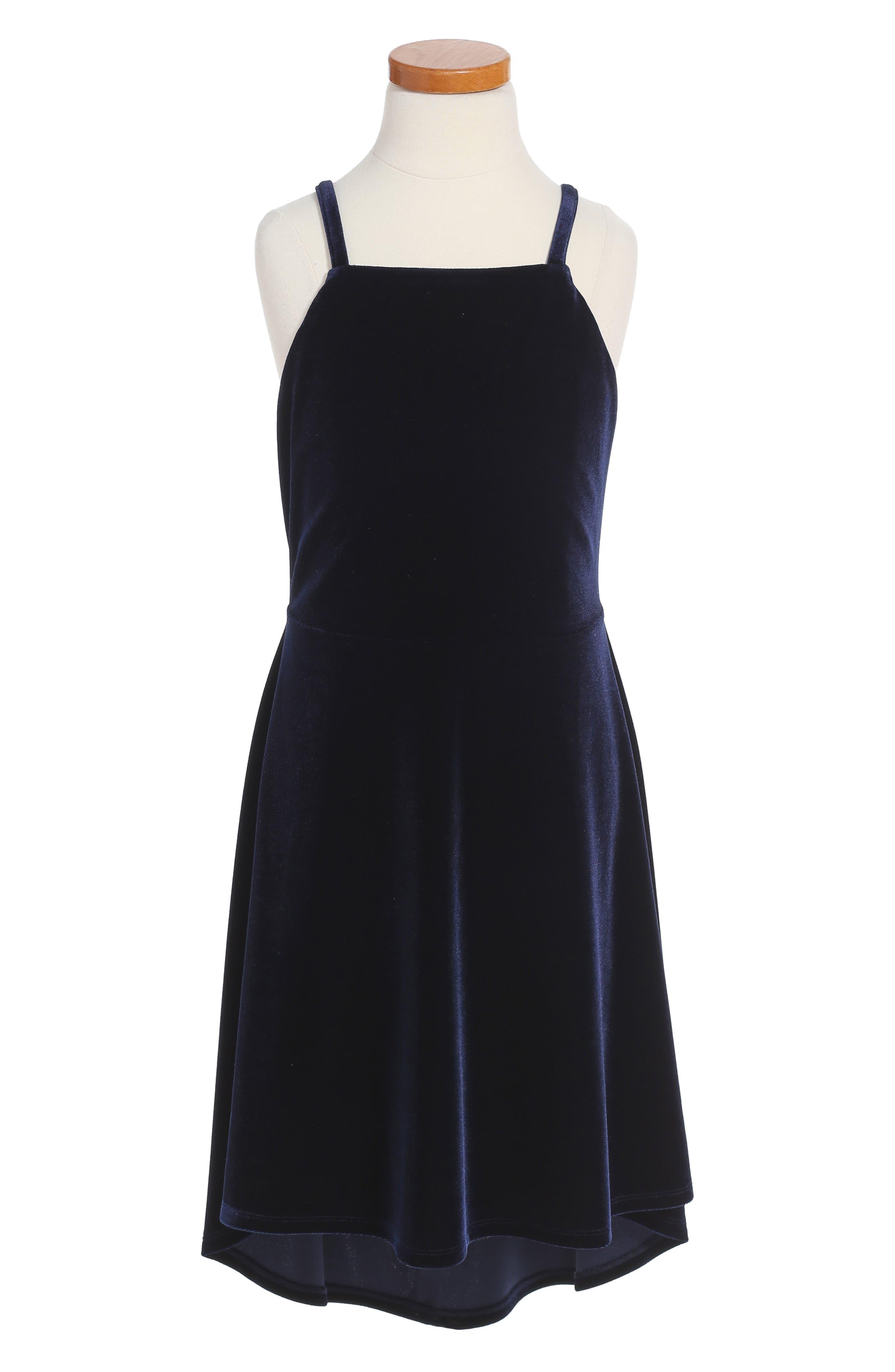 Junior Velvet Skater Dress,                         Main,                         color, 411