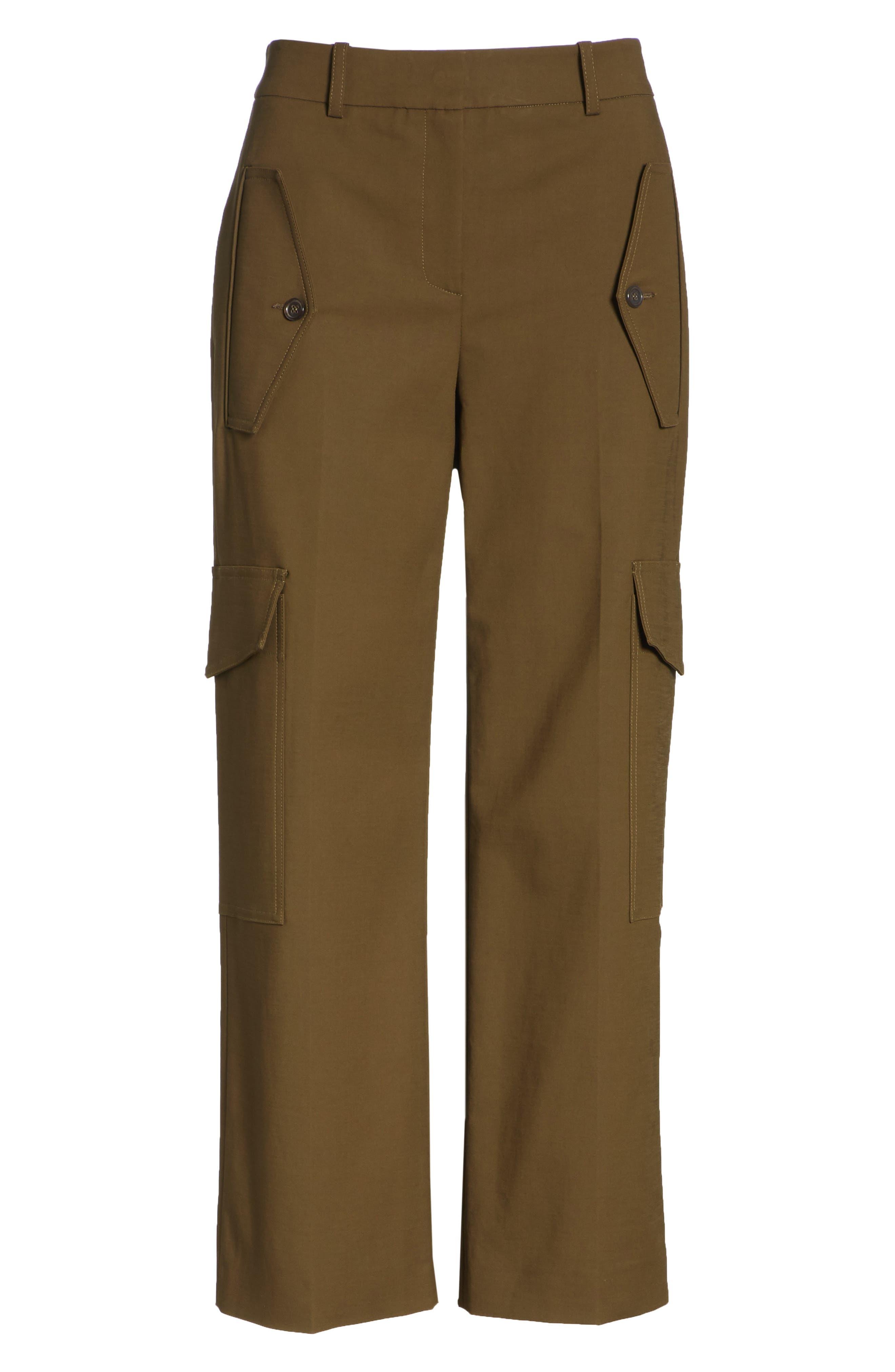 Crop Cargo Pants,                             Alternate thumbnail 6, color,                             OLIVE