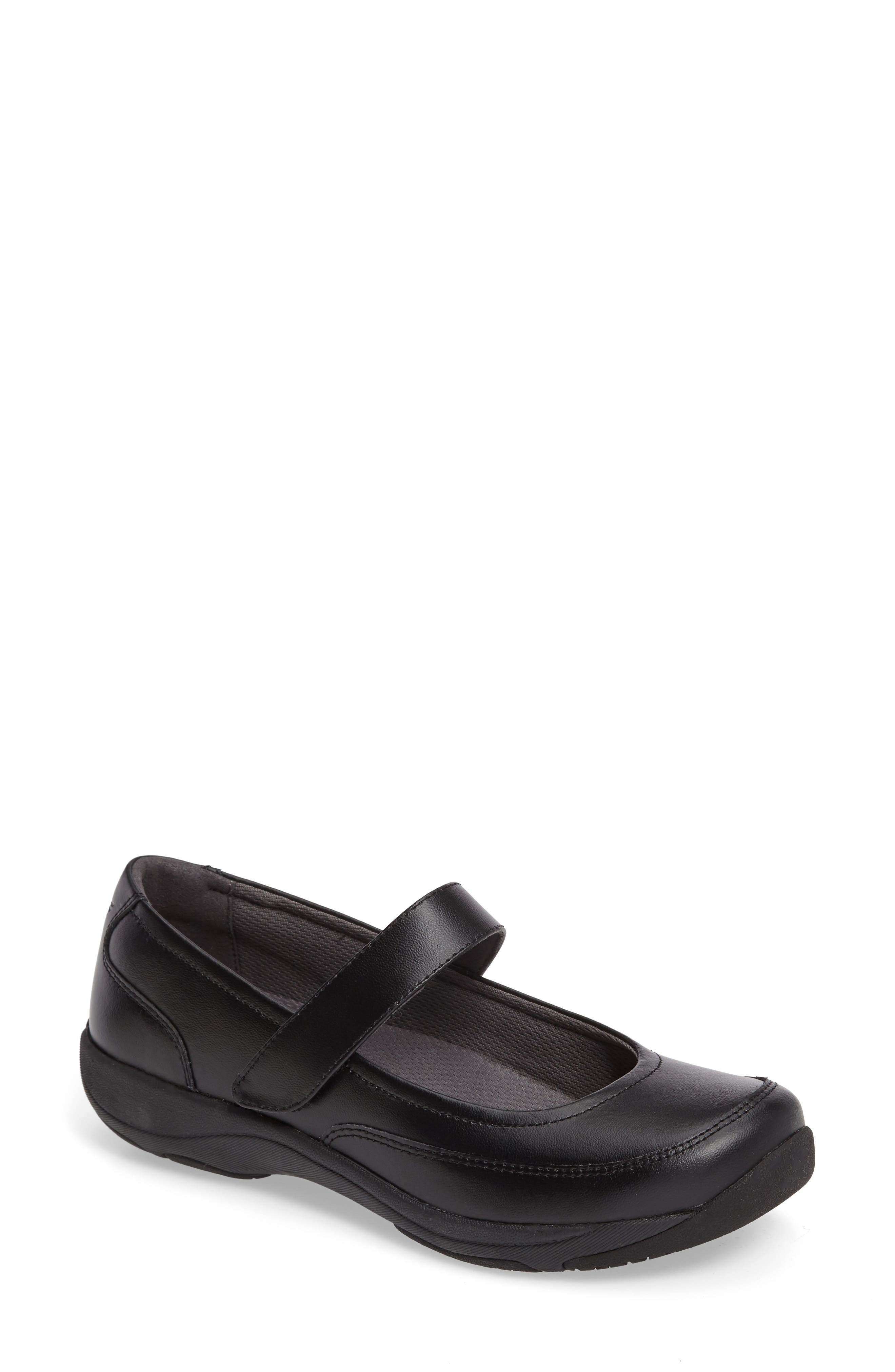 Edith Mary Jane Sneaker,                         Main,                         color, BLACK LEATHER