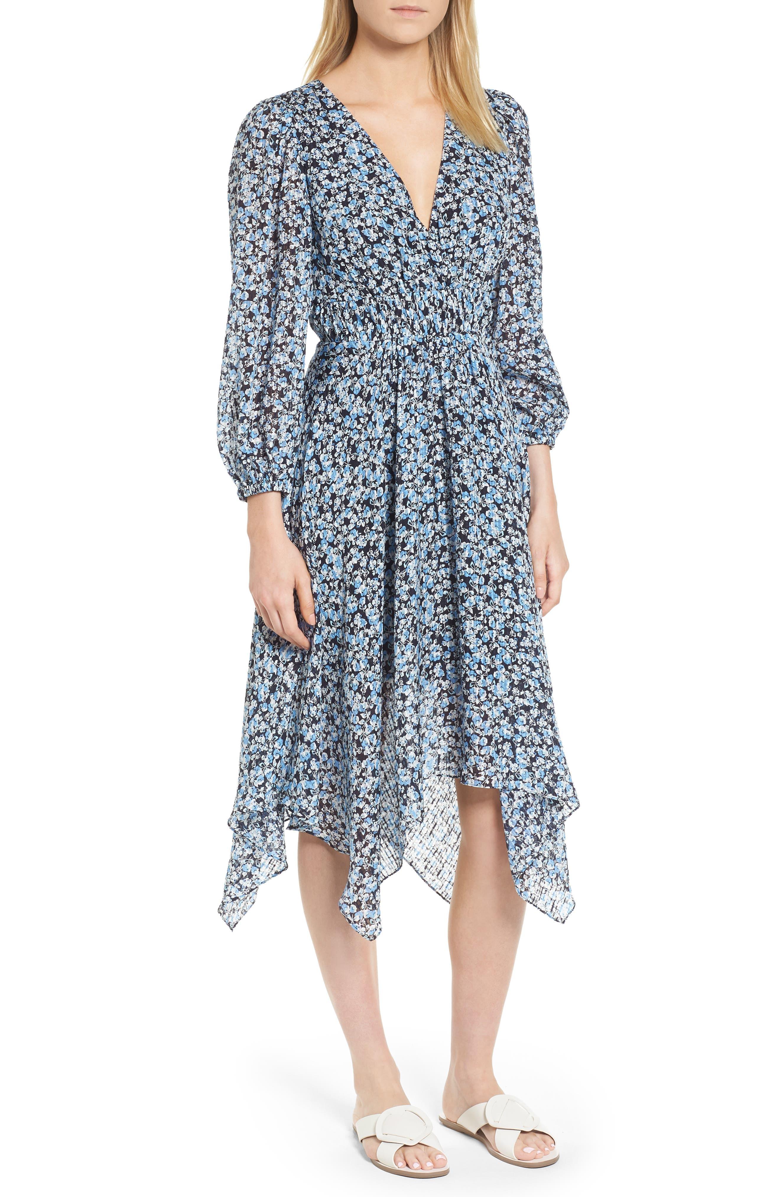 Handkerchief Hem Silk Dress,                             Main thumbnail 1, color,                             401
