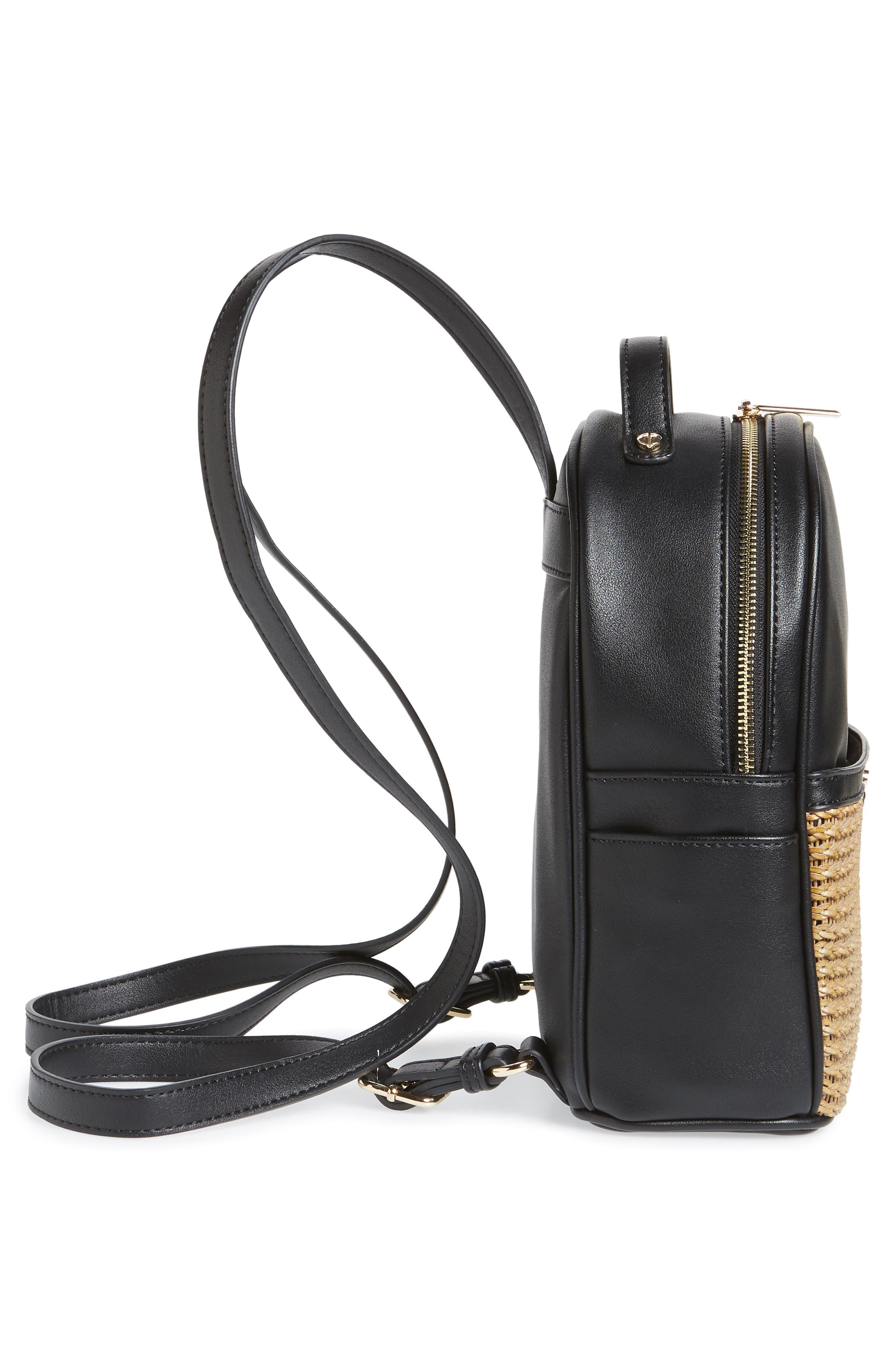 Mali + Lili Harper Lili Basket Weave Backpack,                             Alternate thumbnail 5, color,                             BLACK