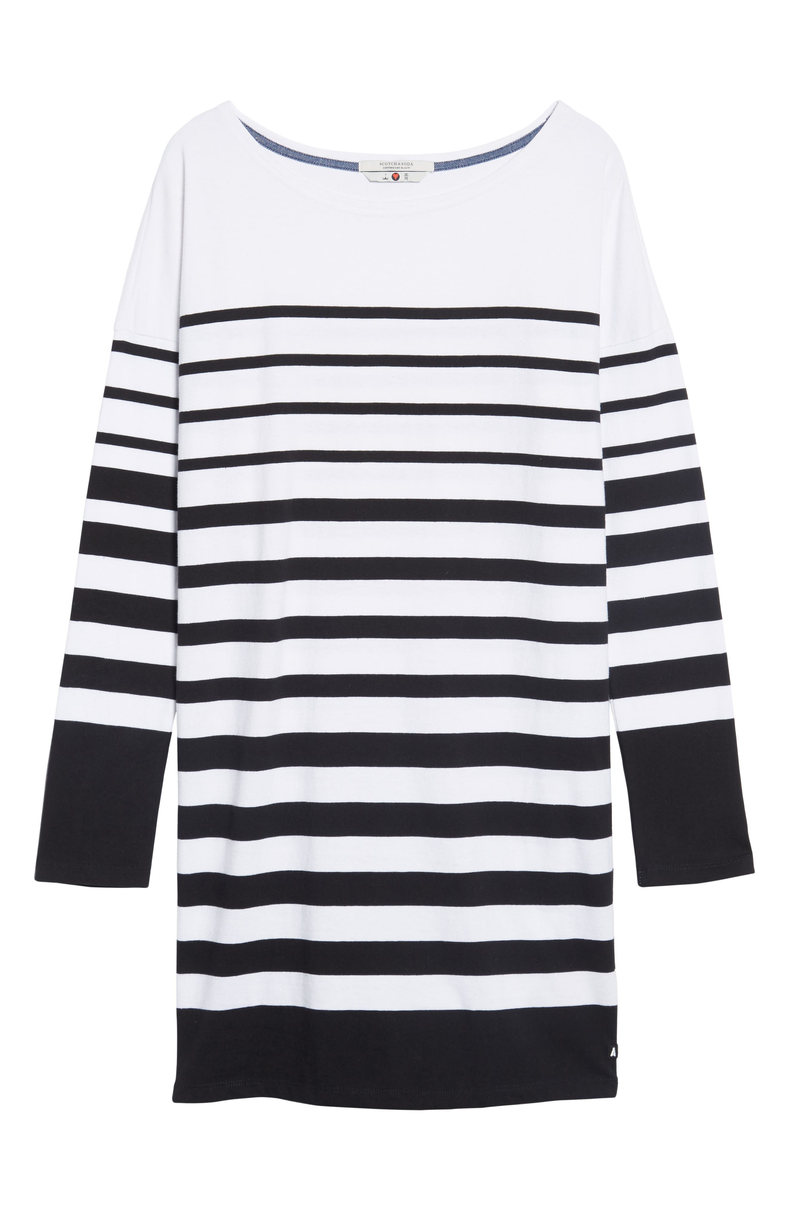 Breton Stripe Cotton Shift Dress,                             Alternate thumbnail 6, color,                             001