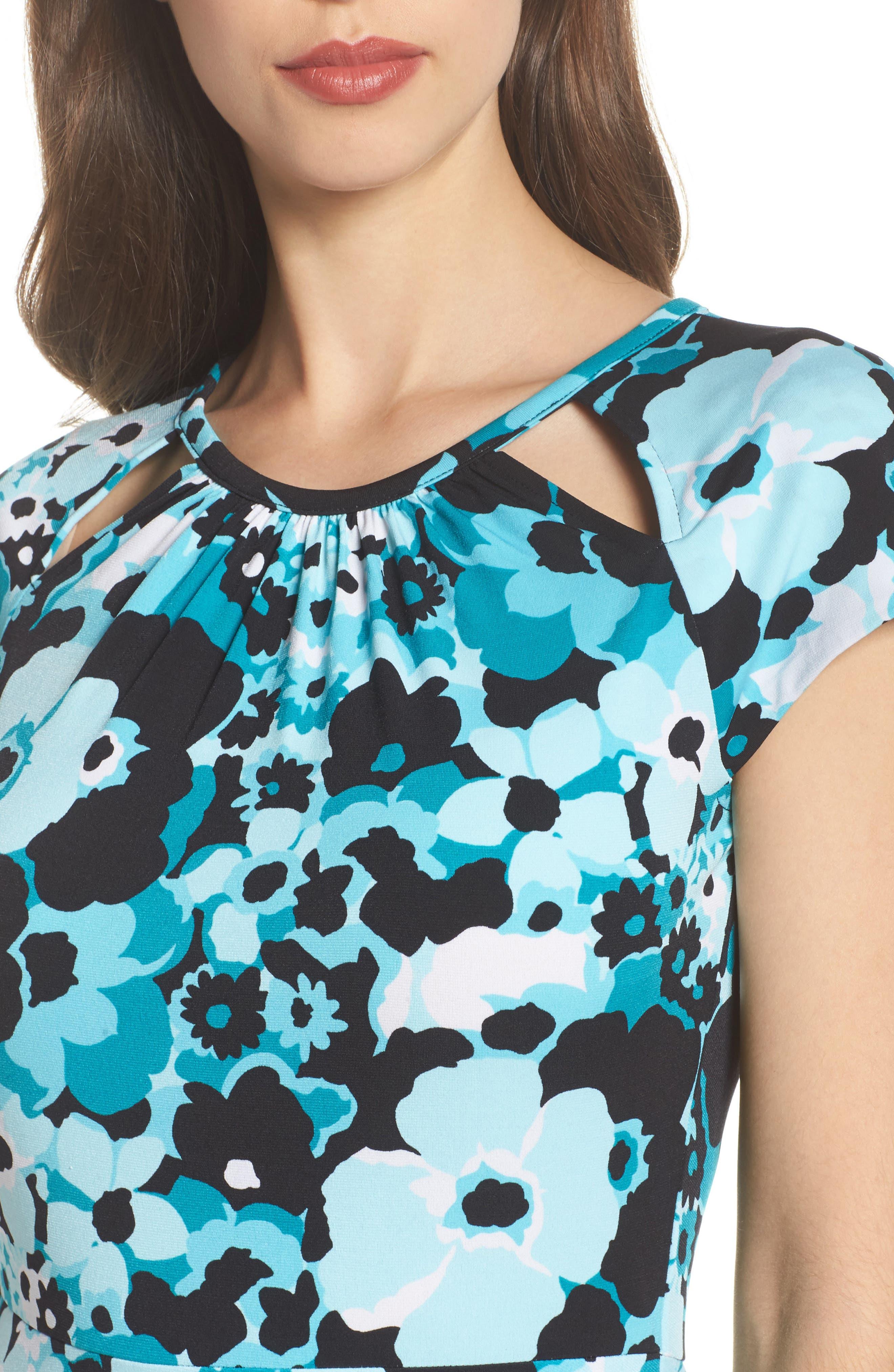 Springtime Floral Cutout Dress,                             Alternate thumbnail 4, color,                             494