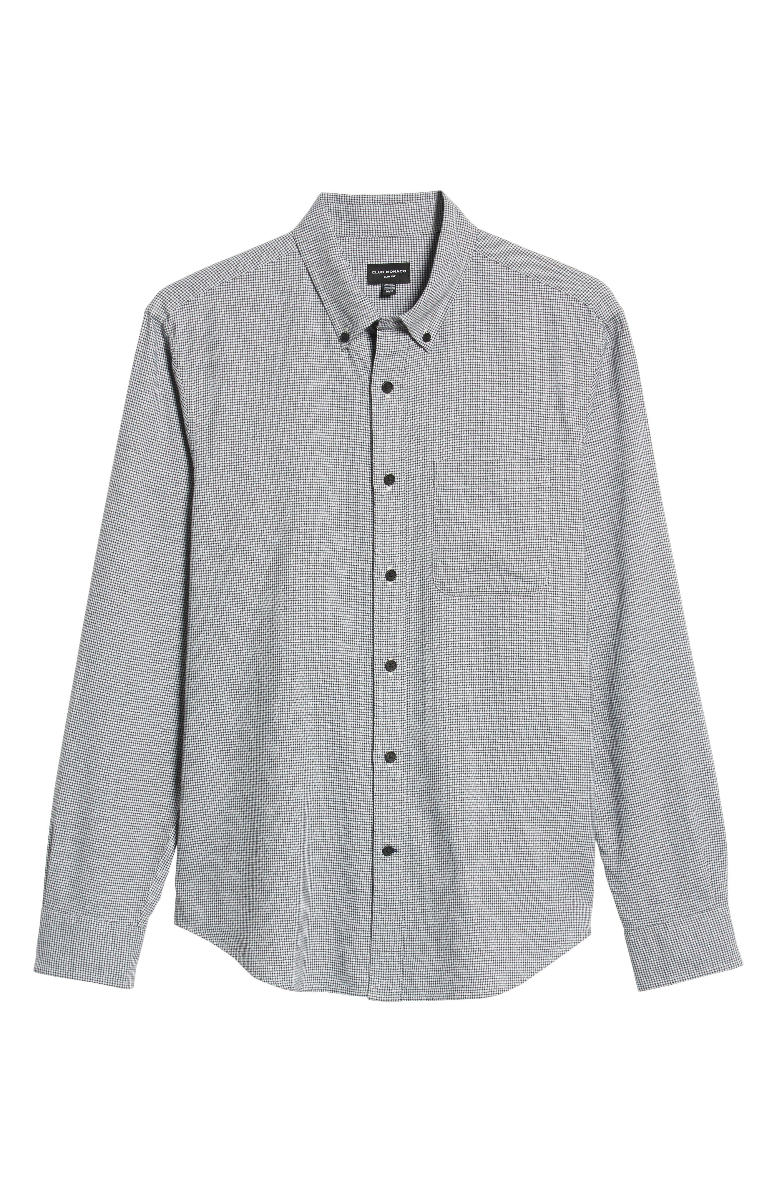 Trim Fit Houndstooth Flannel Sport Shirt,                             Alternate thumbnail 5, color,                             010